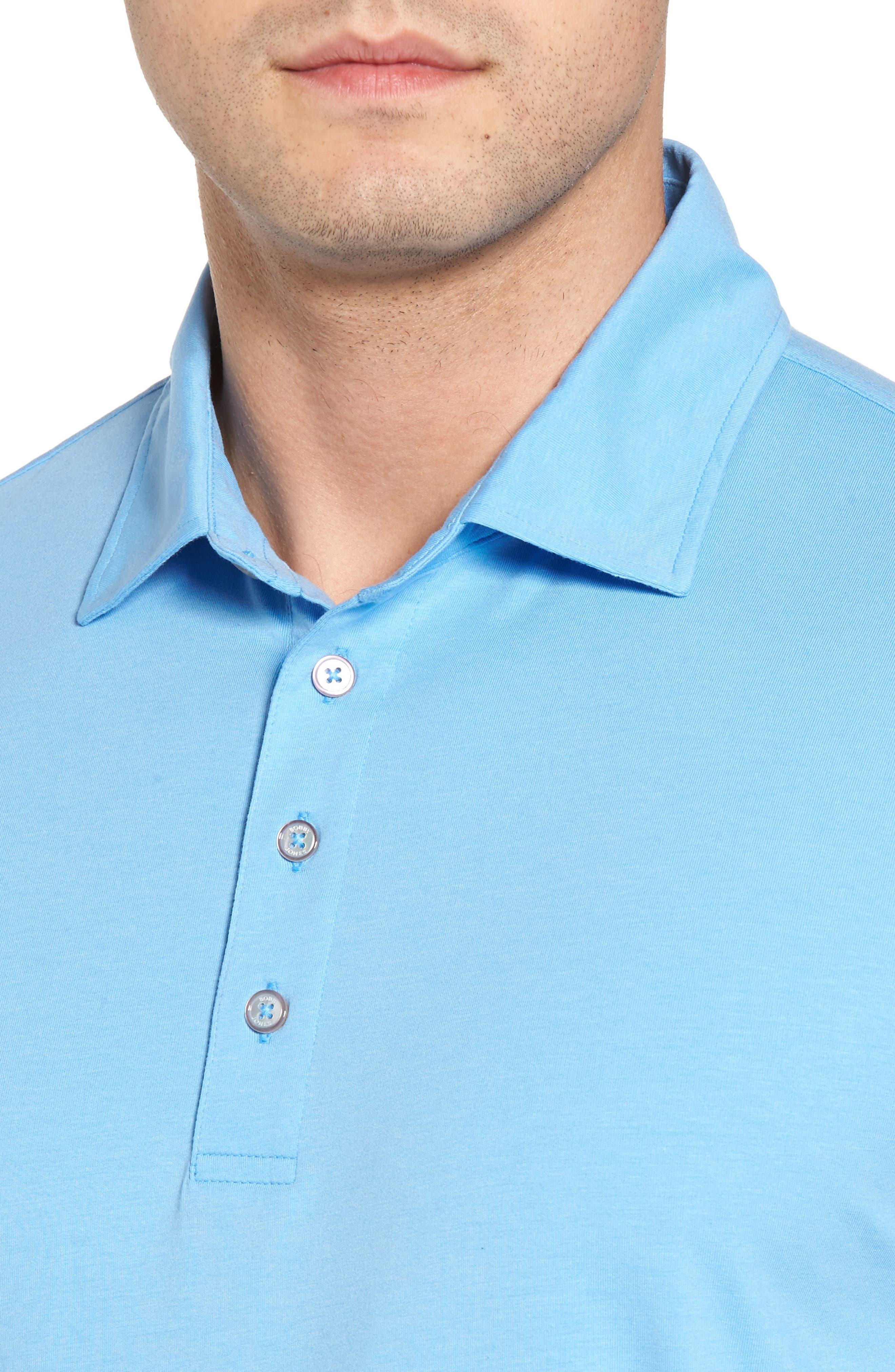 Liquid Cotton Stretch Jersey Polo,                             Alternate thumbnail 4, color,                             Sky Blue