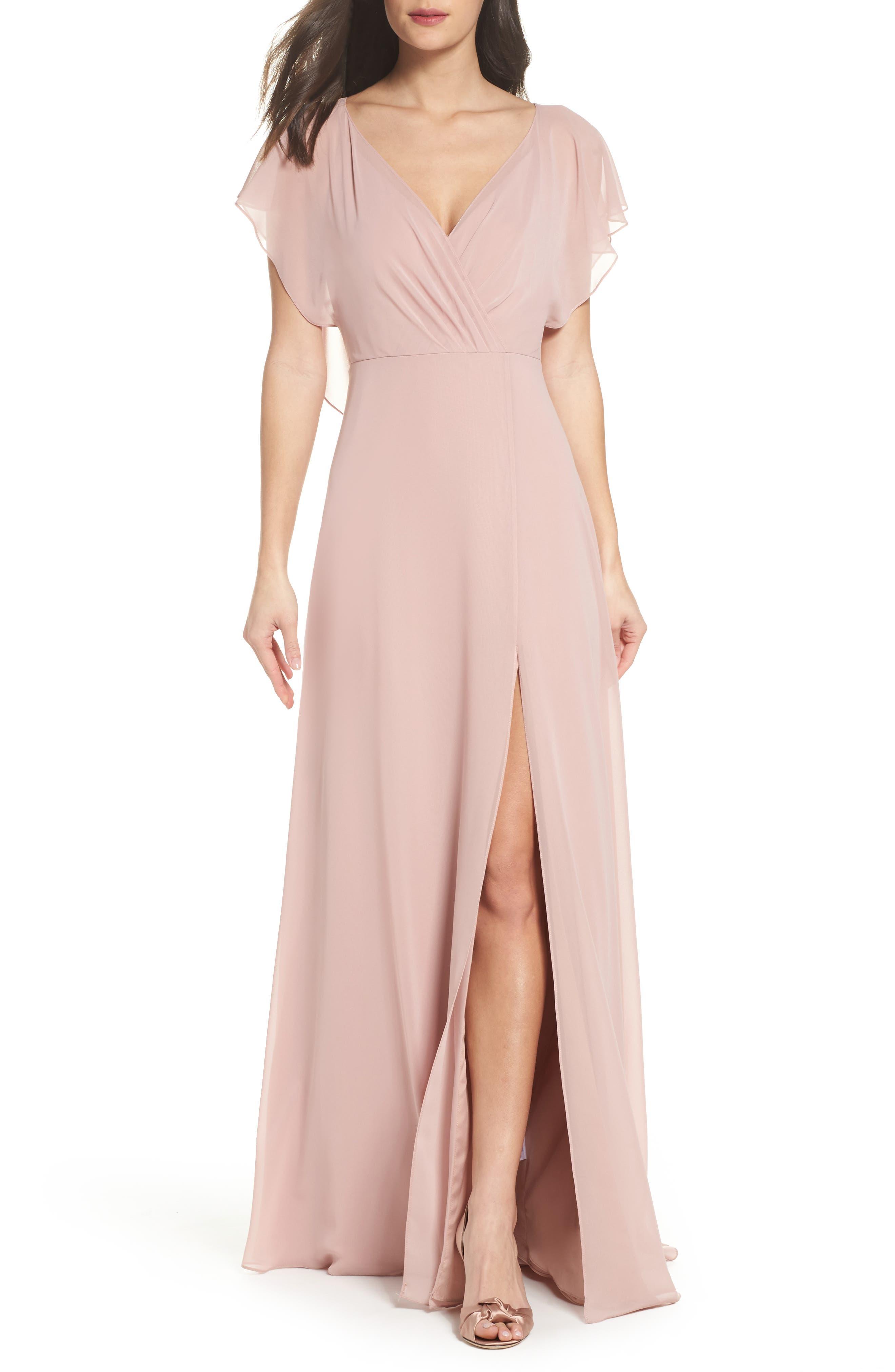 Alternate Image 1 Selected - Jenny Yoo Alanna Open Back Chiffon Gown
