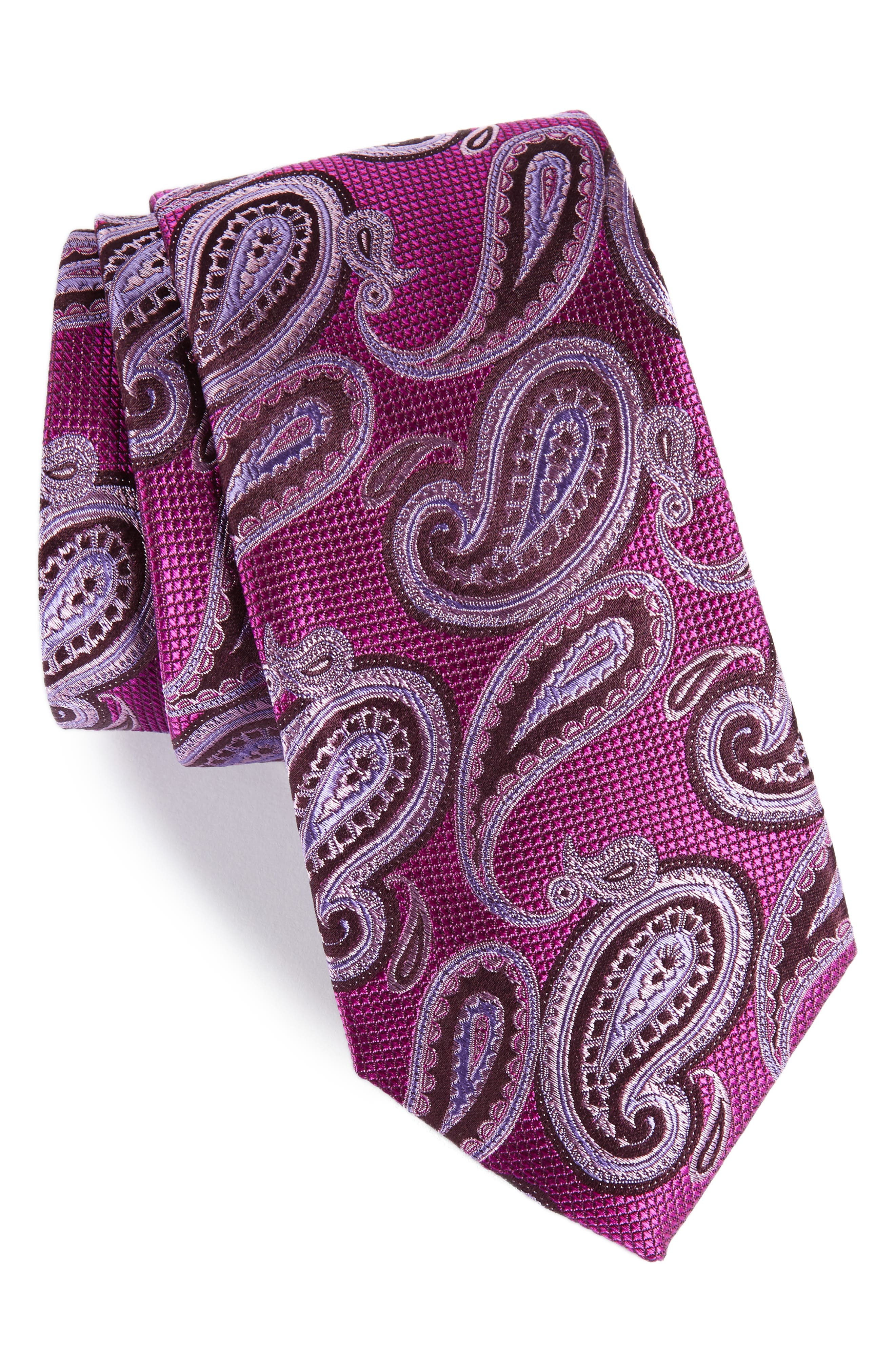 Brett Paisley Silk Tie,                             Main thumbnail 1, color,                             Berry