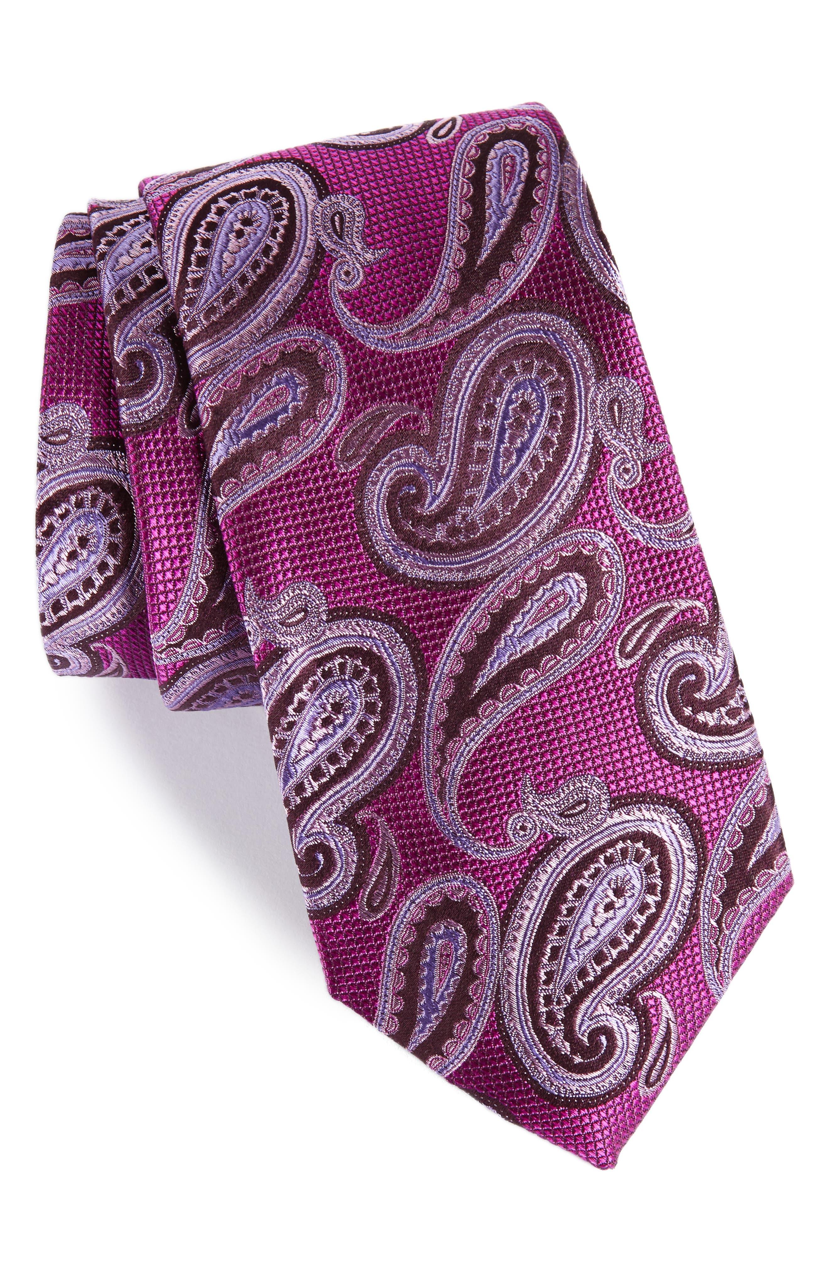 Brett Paisley Silk Tie,                         Main,                         color, Berry