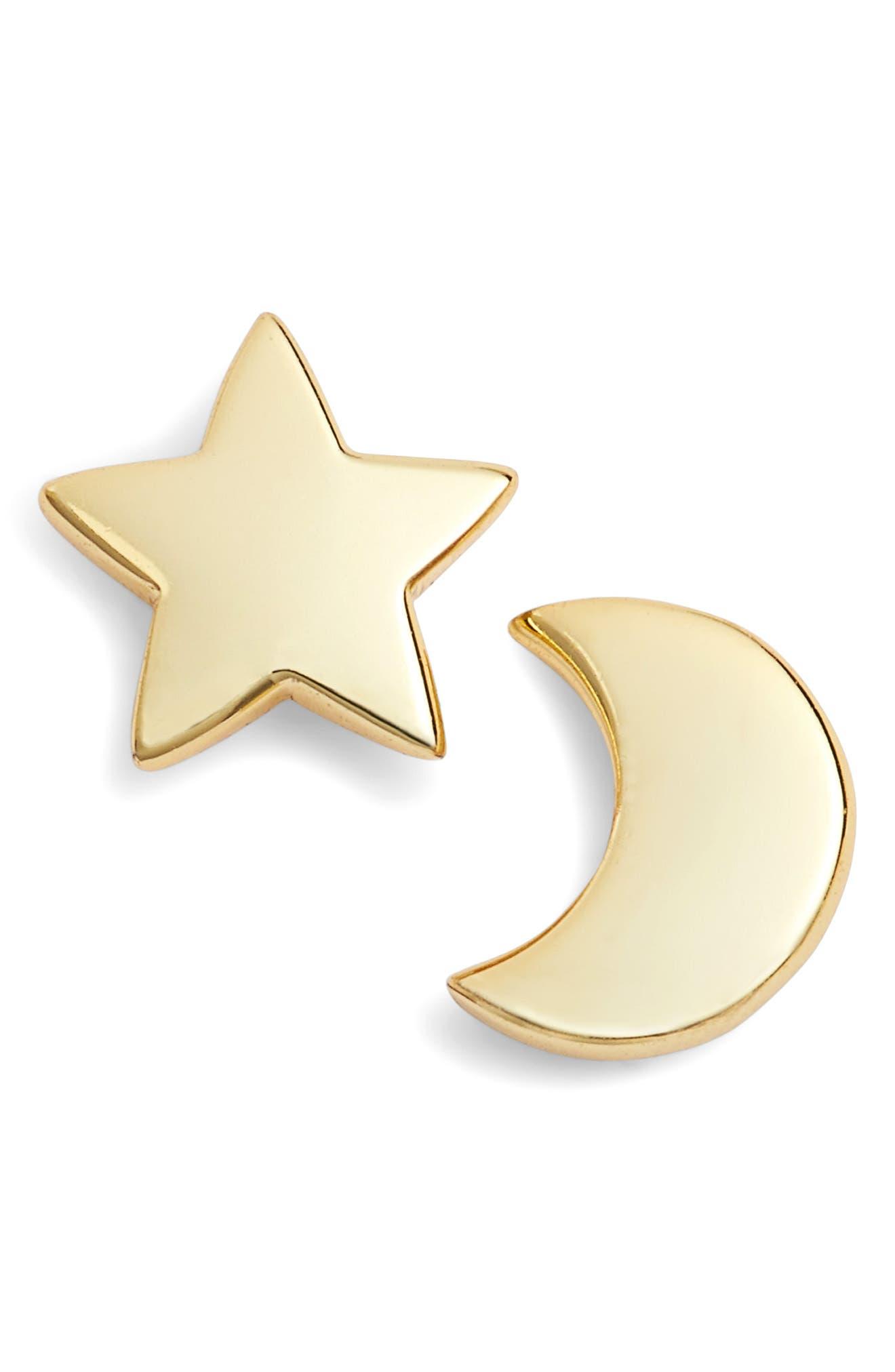 Moon & Star Stud Earrings,                             Main thumbnail 1, color,                             Gold