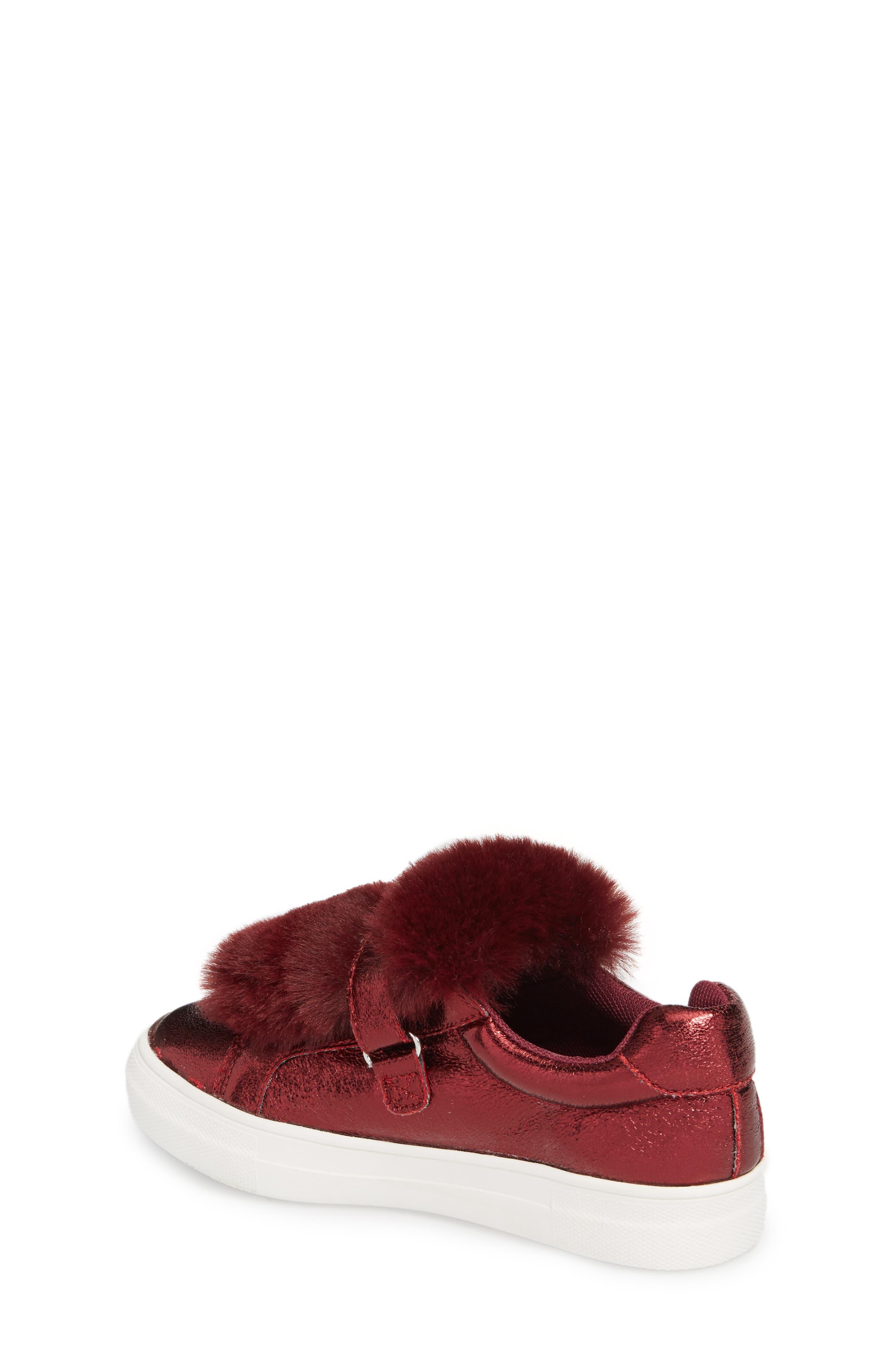 Zandra Faux Fur Metallic Sneaker,                             Alternate thumbnail 2, color,                             Burgundy Faux Leather