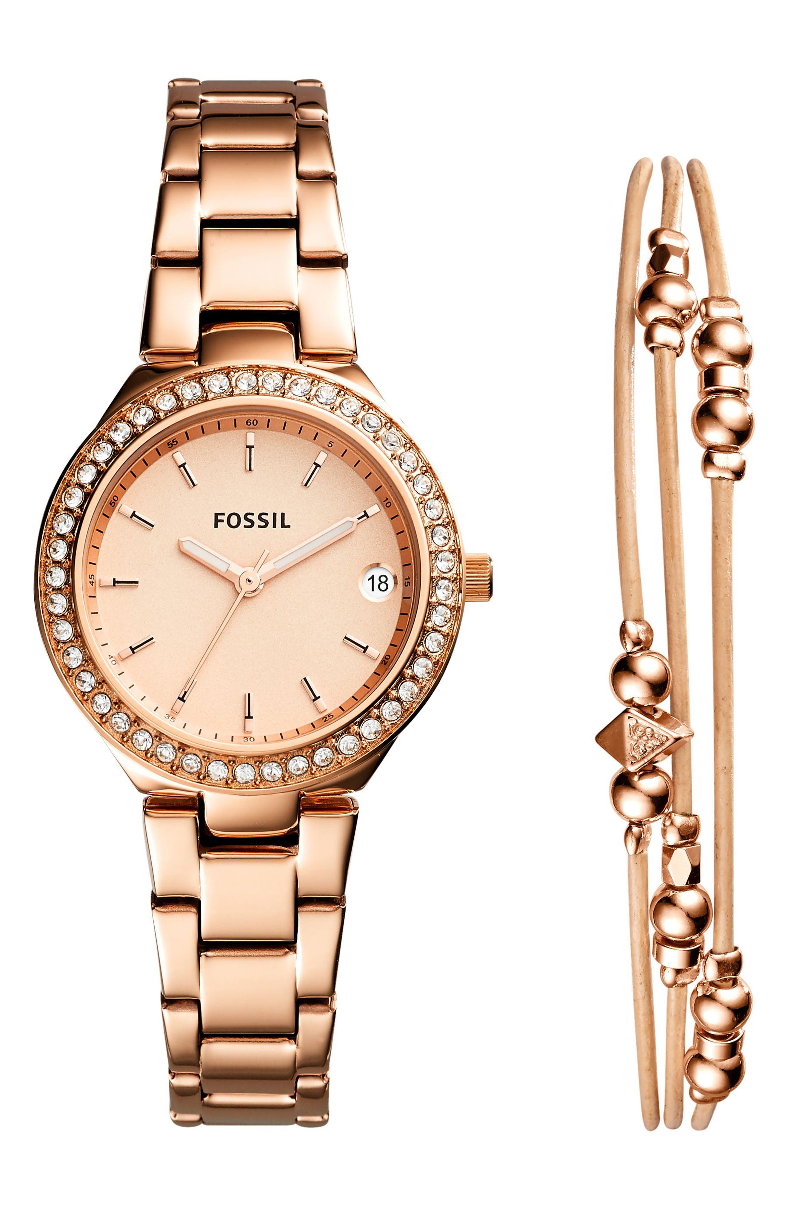Main Image - Fossil Blane Crystal Bracelet Watch & Bracelet Set, 31mm
