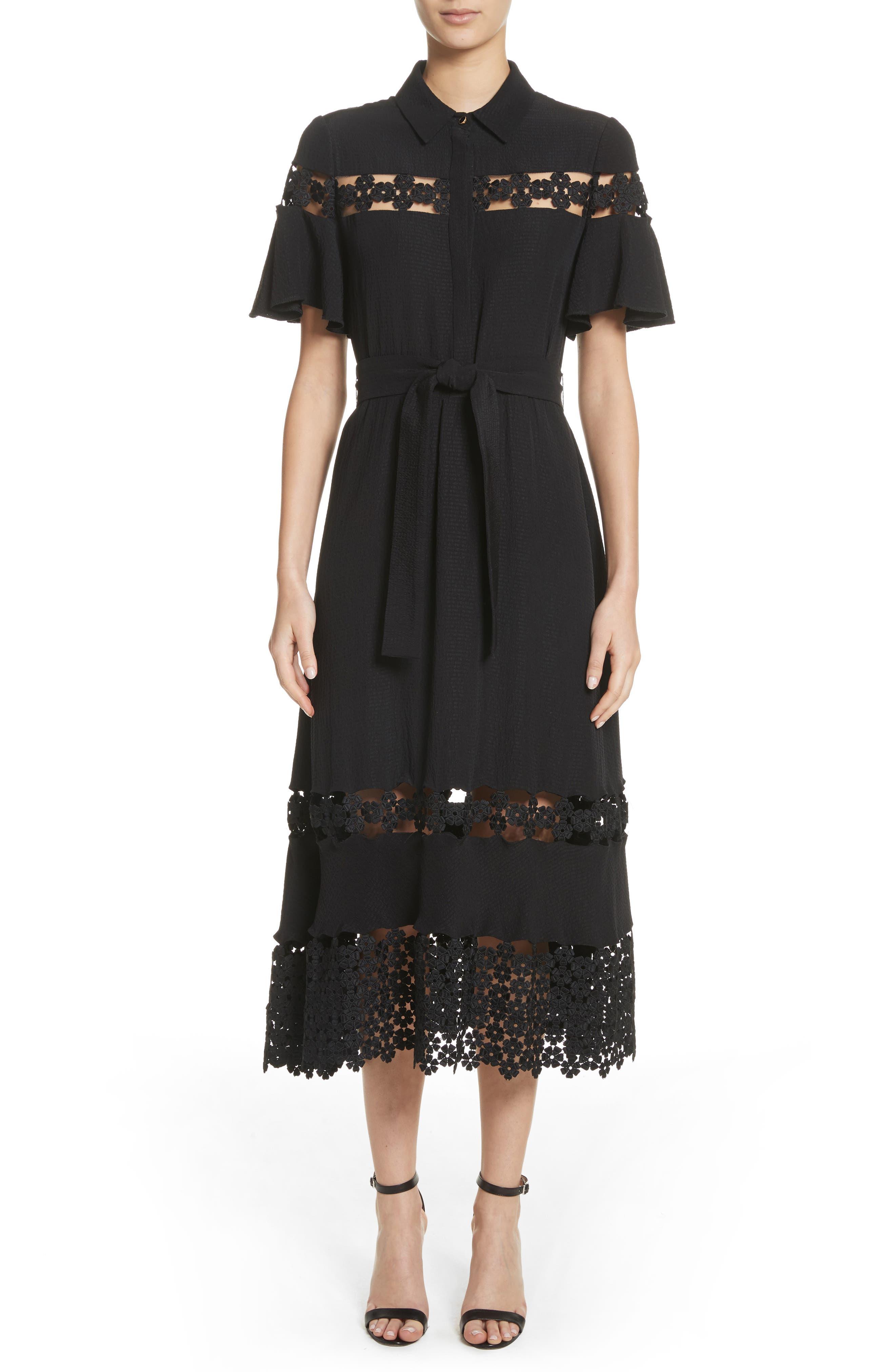 Lace Inset Flutter Sleeve Shirtdress,                         Main,                         color, Black