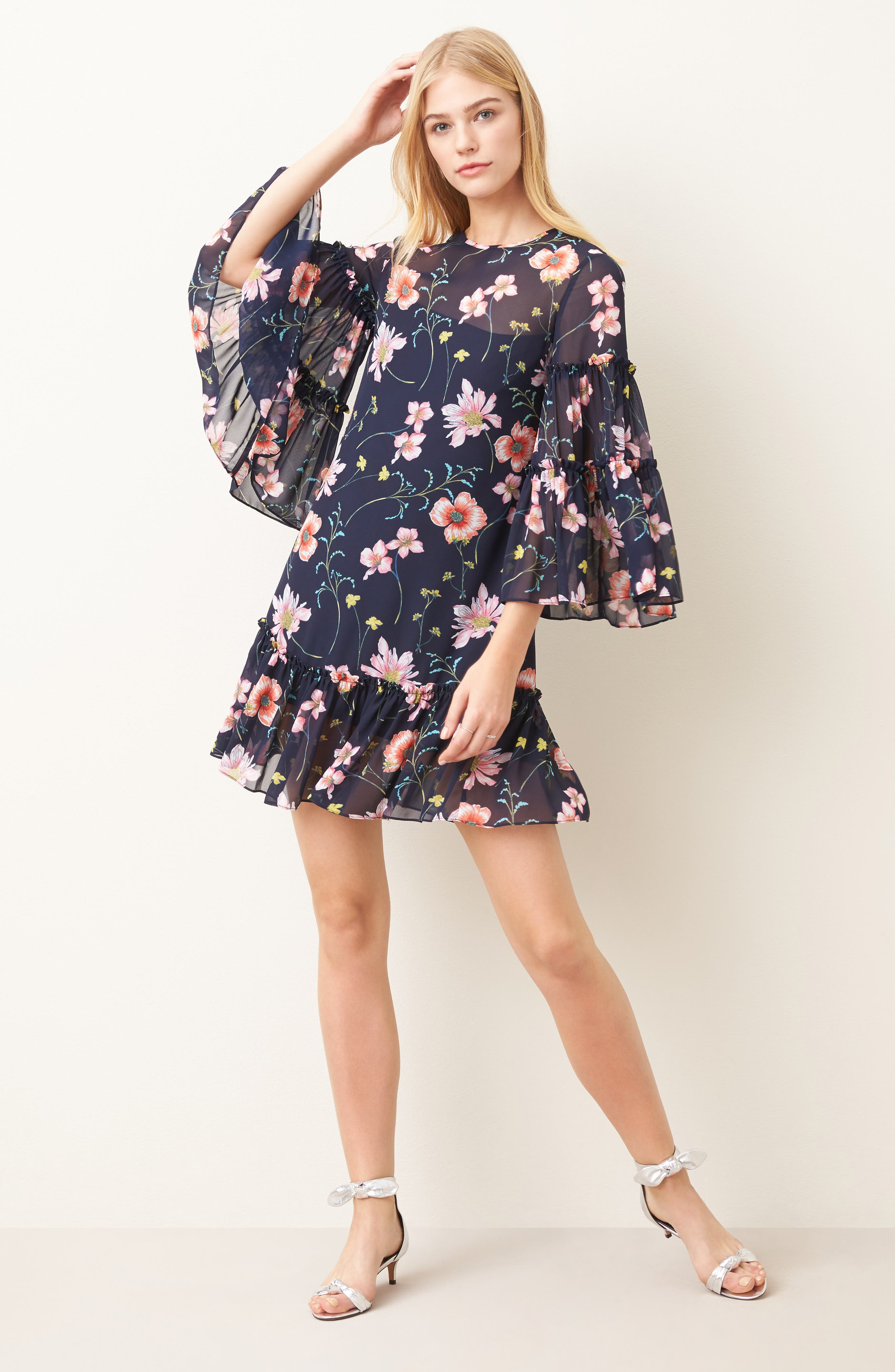 Bell Sleeve Dress,                             Alternate thumbnail 2, color,                             Navy