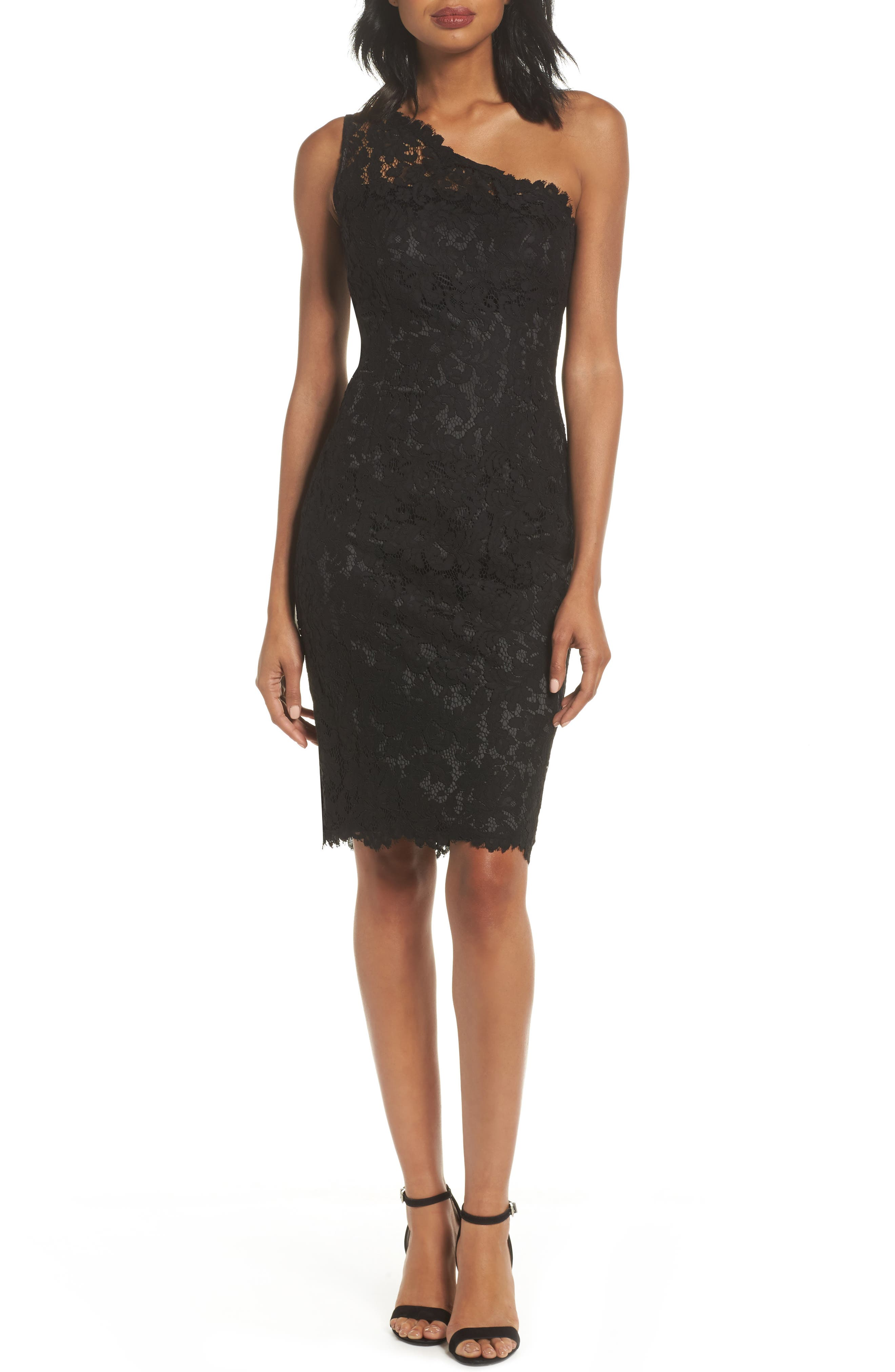 One-Shoulder Lace Sheath Dress,                             Main thumbnail 1, color,                             Black