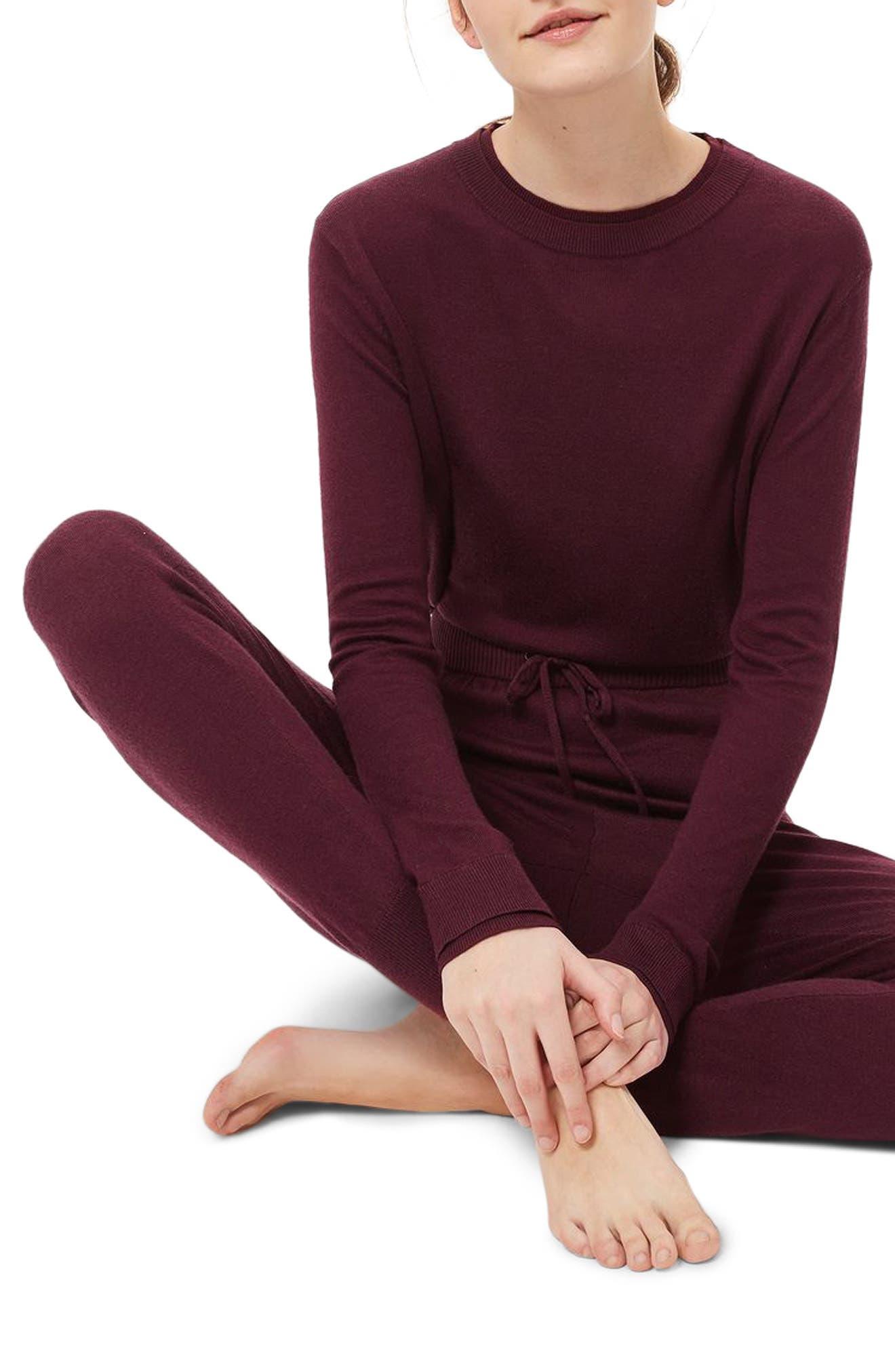 Alternate Image 1 Selected - Topshop Crewneck Knit Pajama Top