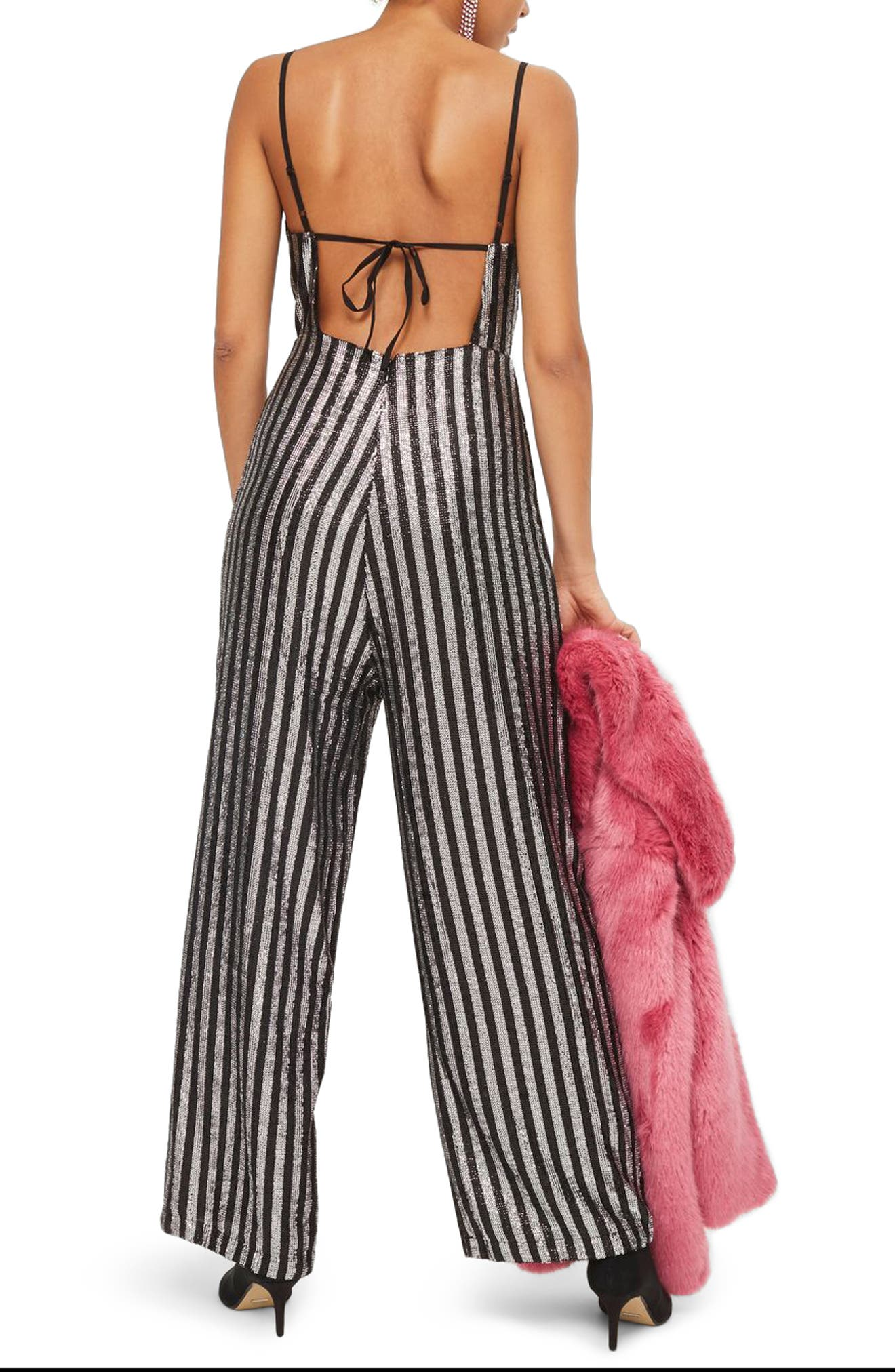 Sequin Stripe Jumpsuit,                             Alternate thumbnail 2, color,                             Silver Multi