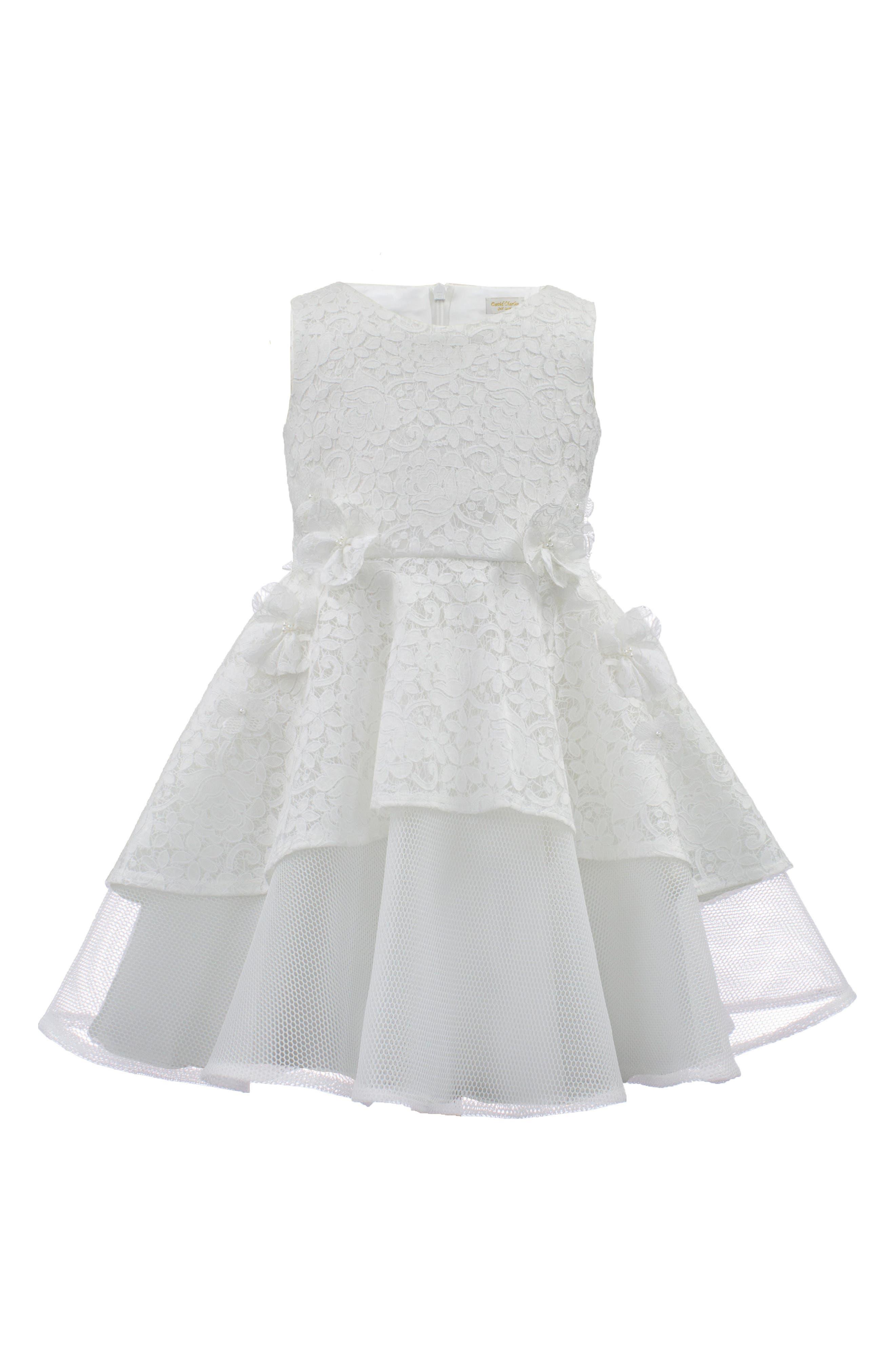 Lace & Techno Mesh Dress,                         Main,                         color, Ivory
