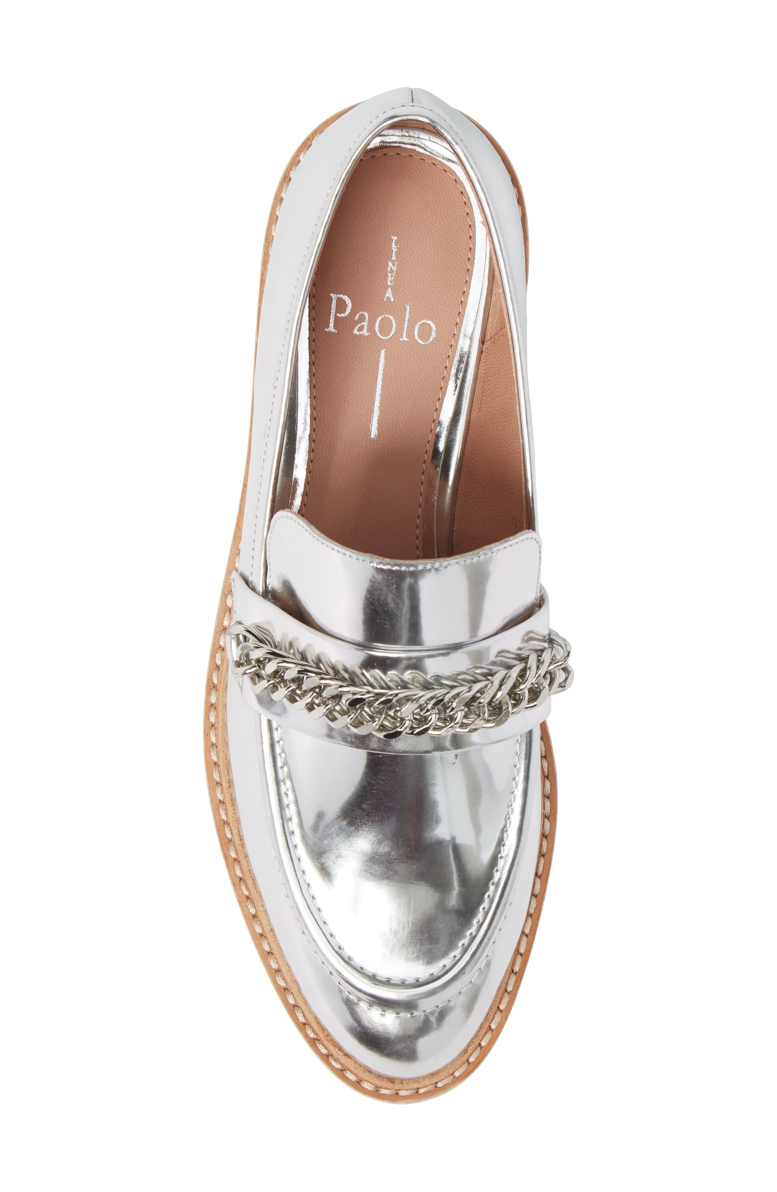 Jacki Platform Loafer,                             Alternate thumbnail 5, color,                             Silver Leather