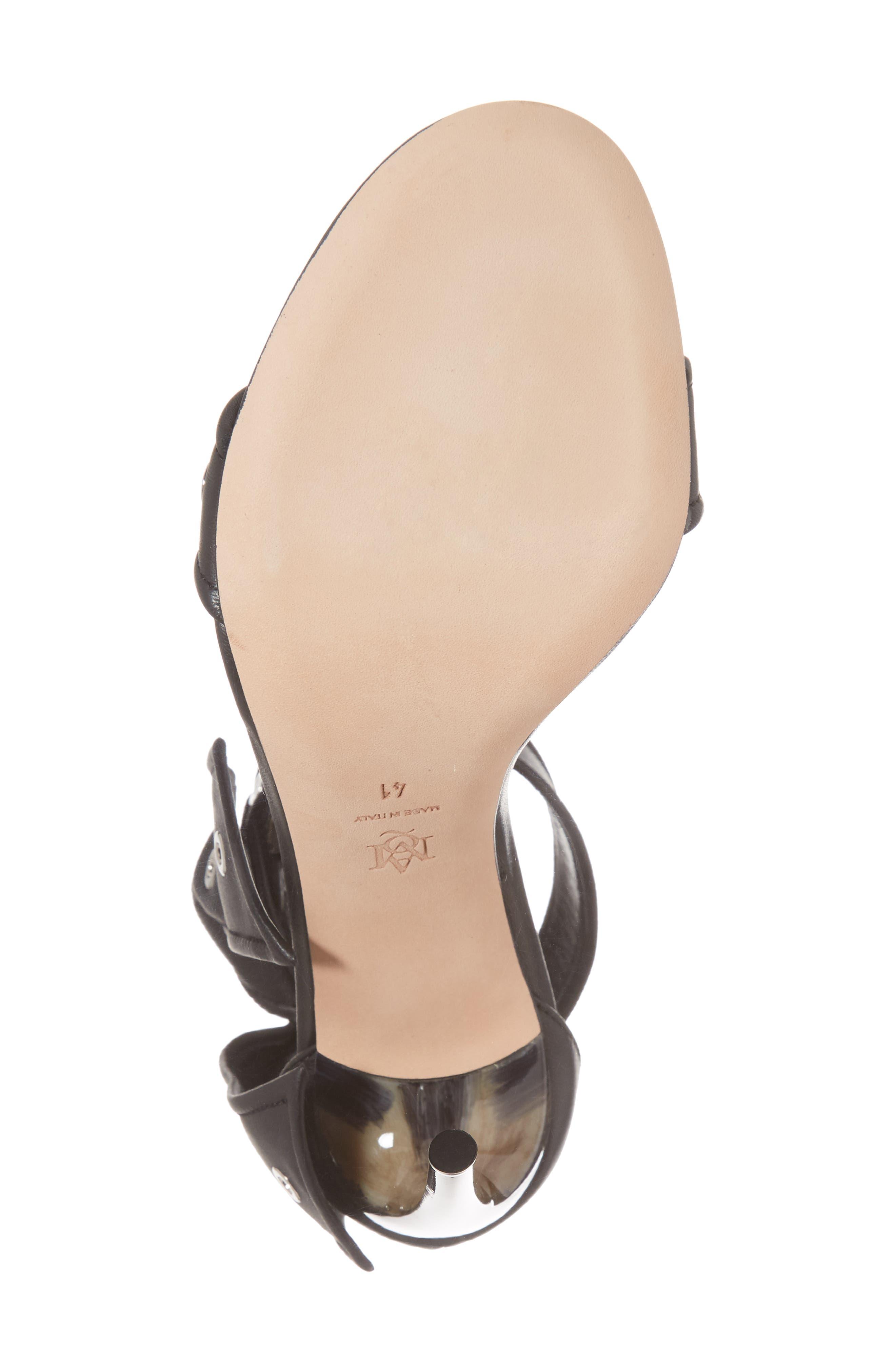 Grommet Ankle Strap Sandal,                             Alternate thumbnail 6, color,                             Black