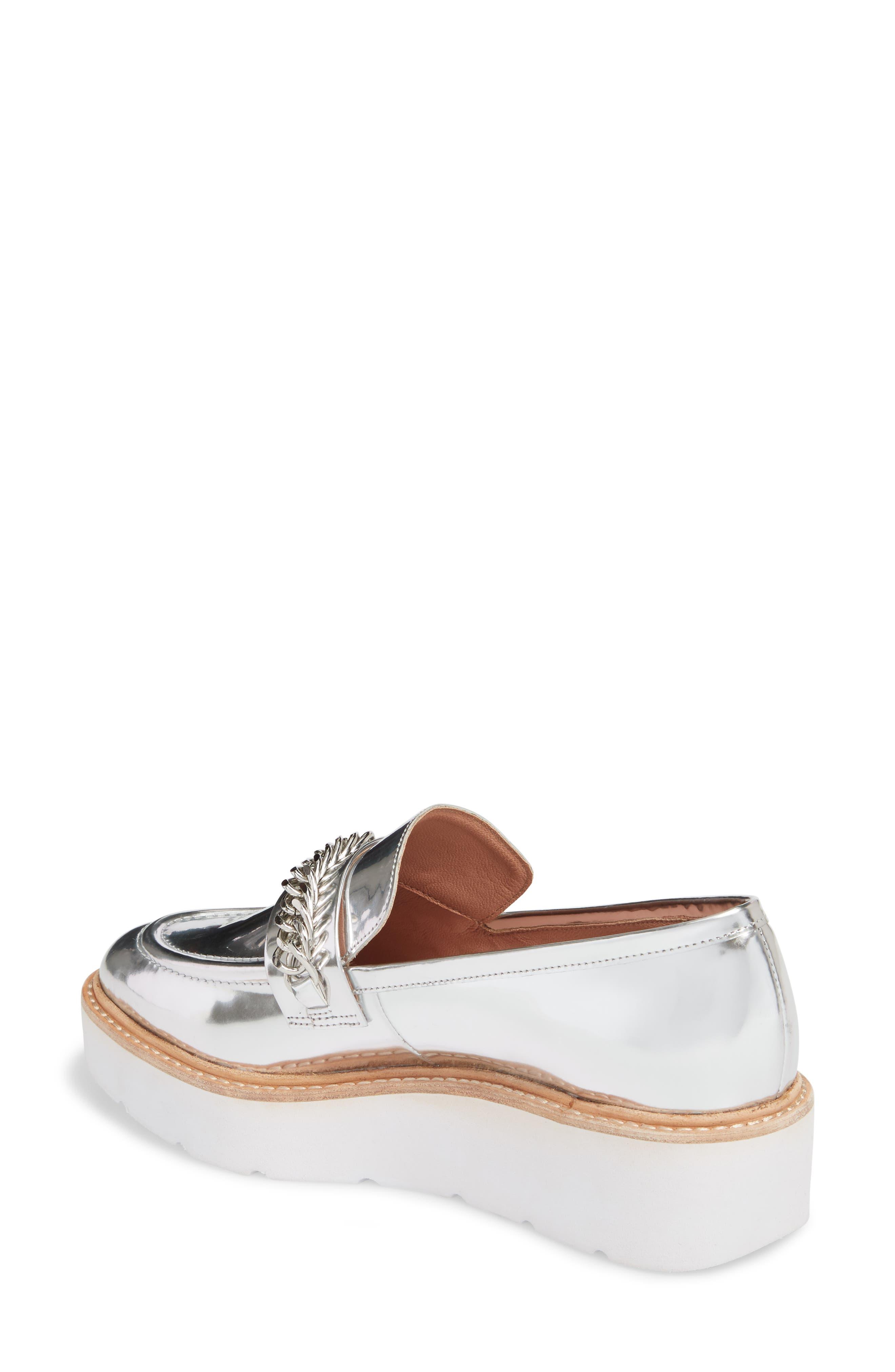 Jacki Platform Loafer,                             Alternate thumbnail 2, color,                             Silver Leather