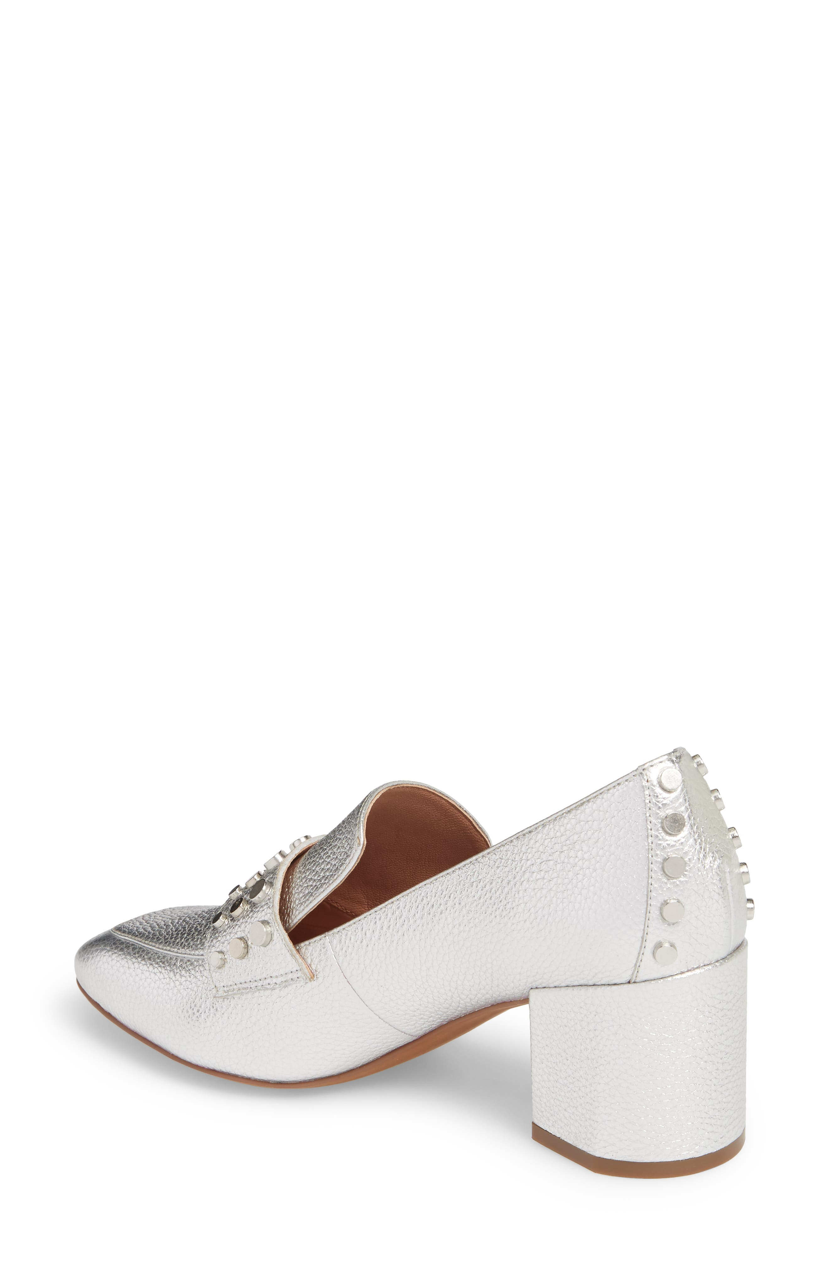 Luca Studded Pump,                             Alternate thumbnail 2, color,                             Silver Leather