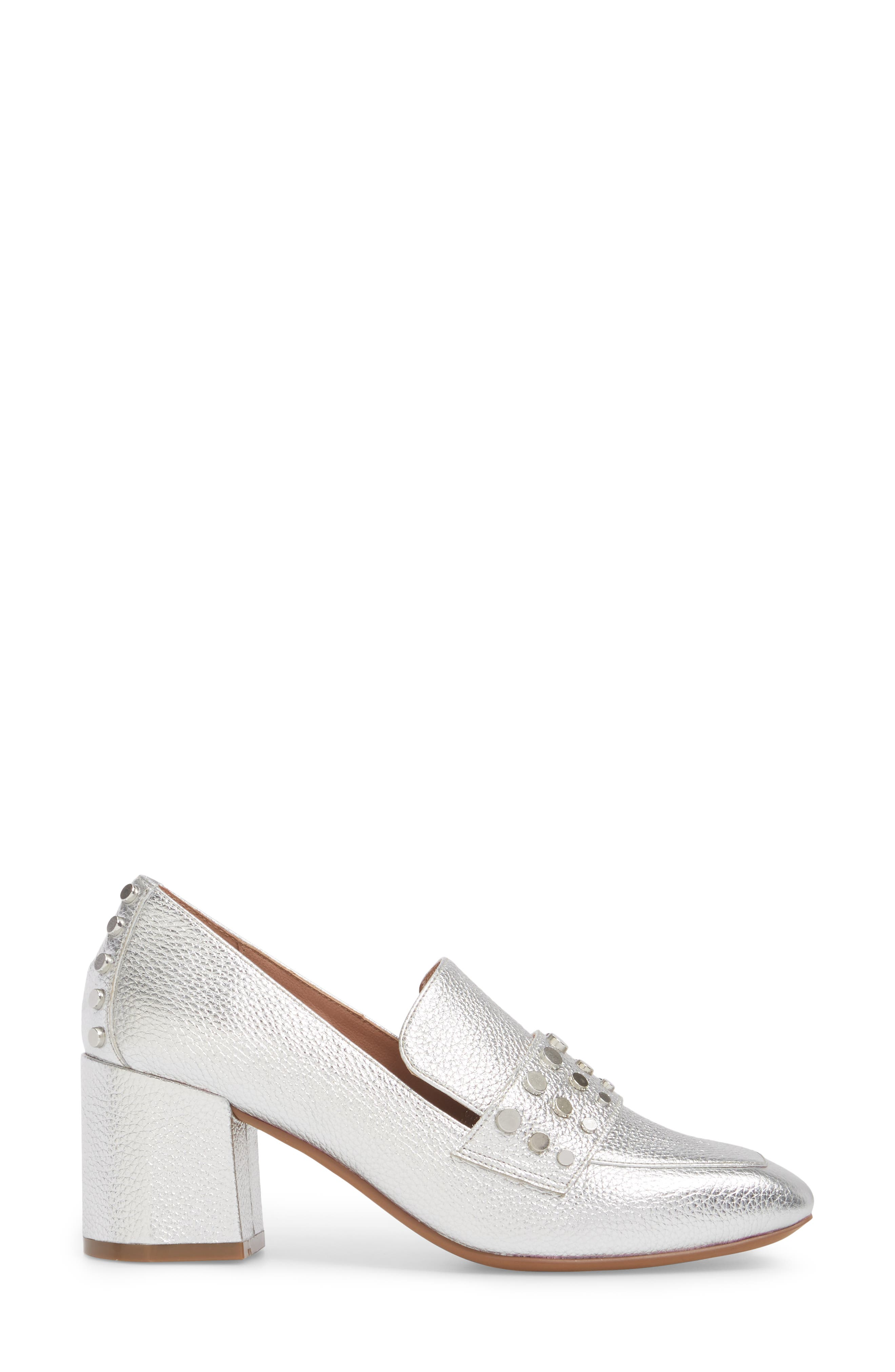 Luca Studded Pump,                             Alternate thumbnail 3, color,                             Silver Leather