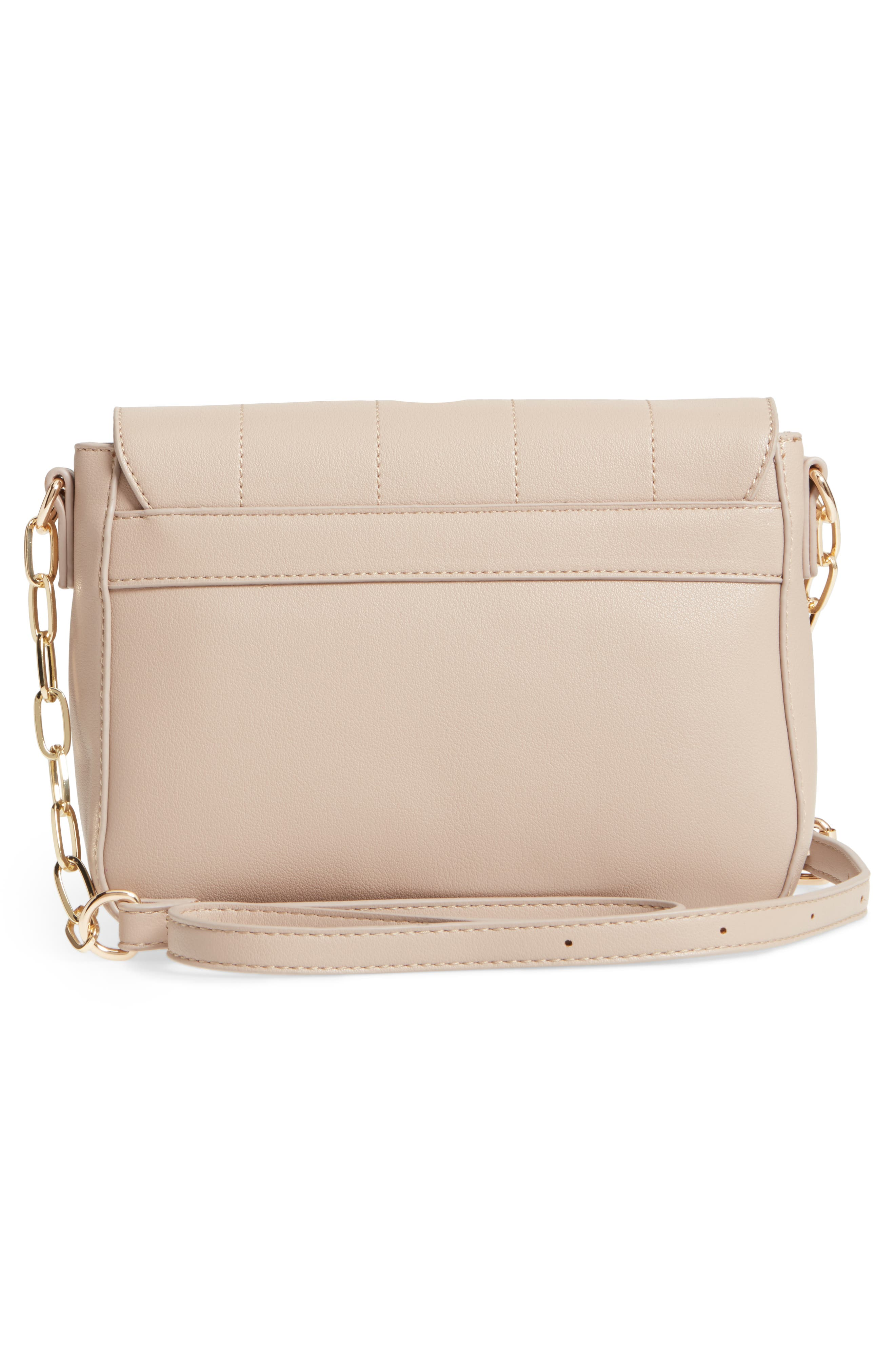 Colie Faux Leather Crossbody Bag,                             Alternate thumbnail 3, color,                             Taupe
