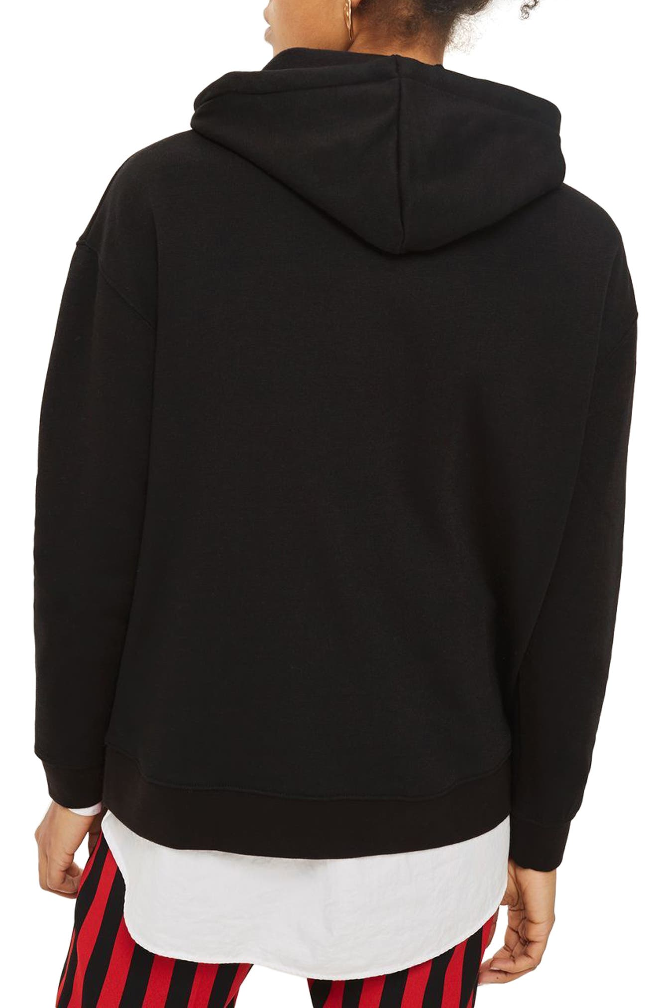 Fatal Love Embellished Hoodie,                             Alternate thumbnail 3, color,                             Black