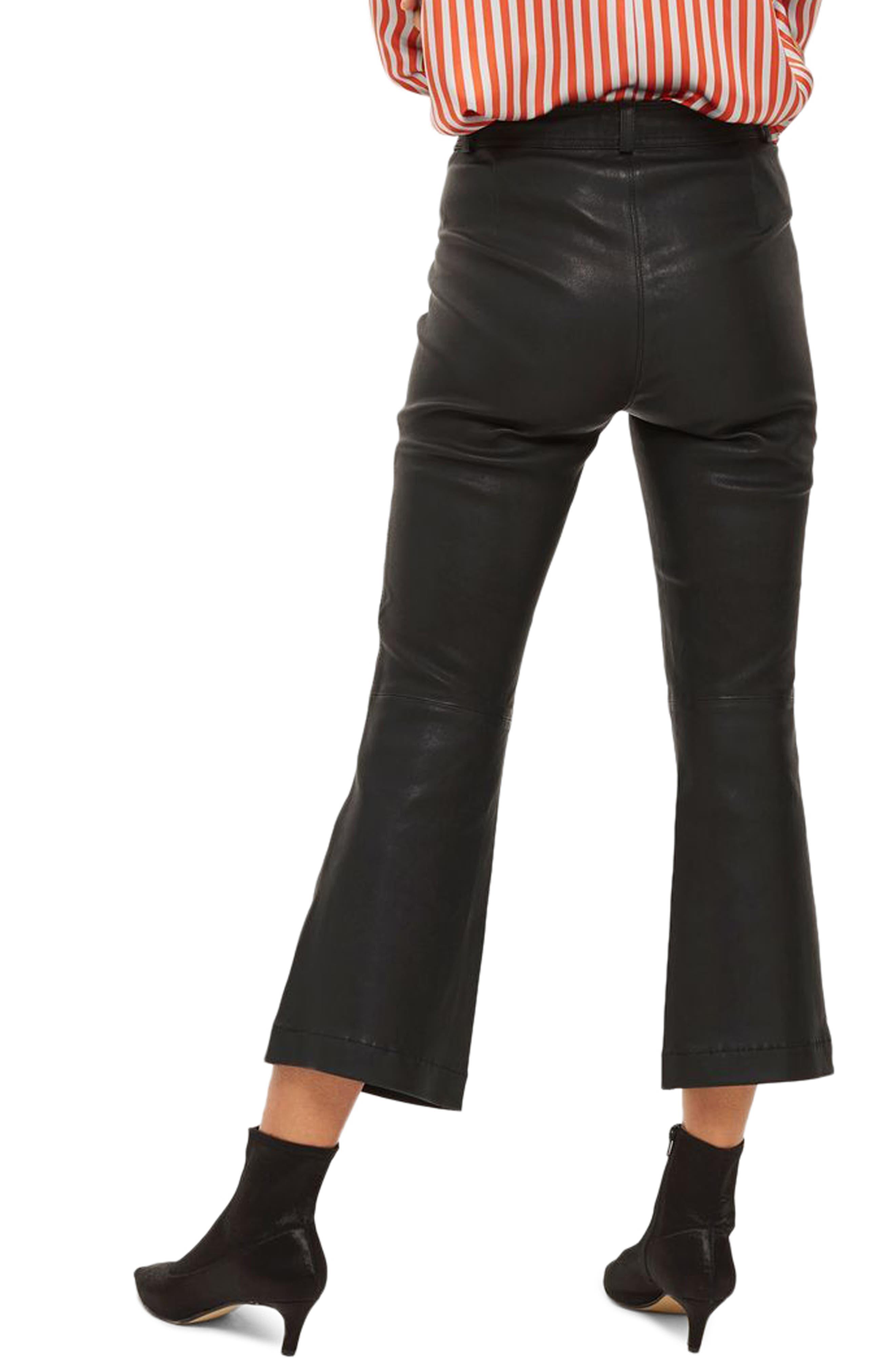 Premium Kick Flare Crop Leather Pants,                             Alternate thumbnail 2, color,                             Black