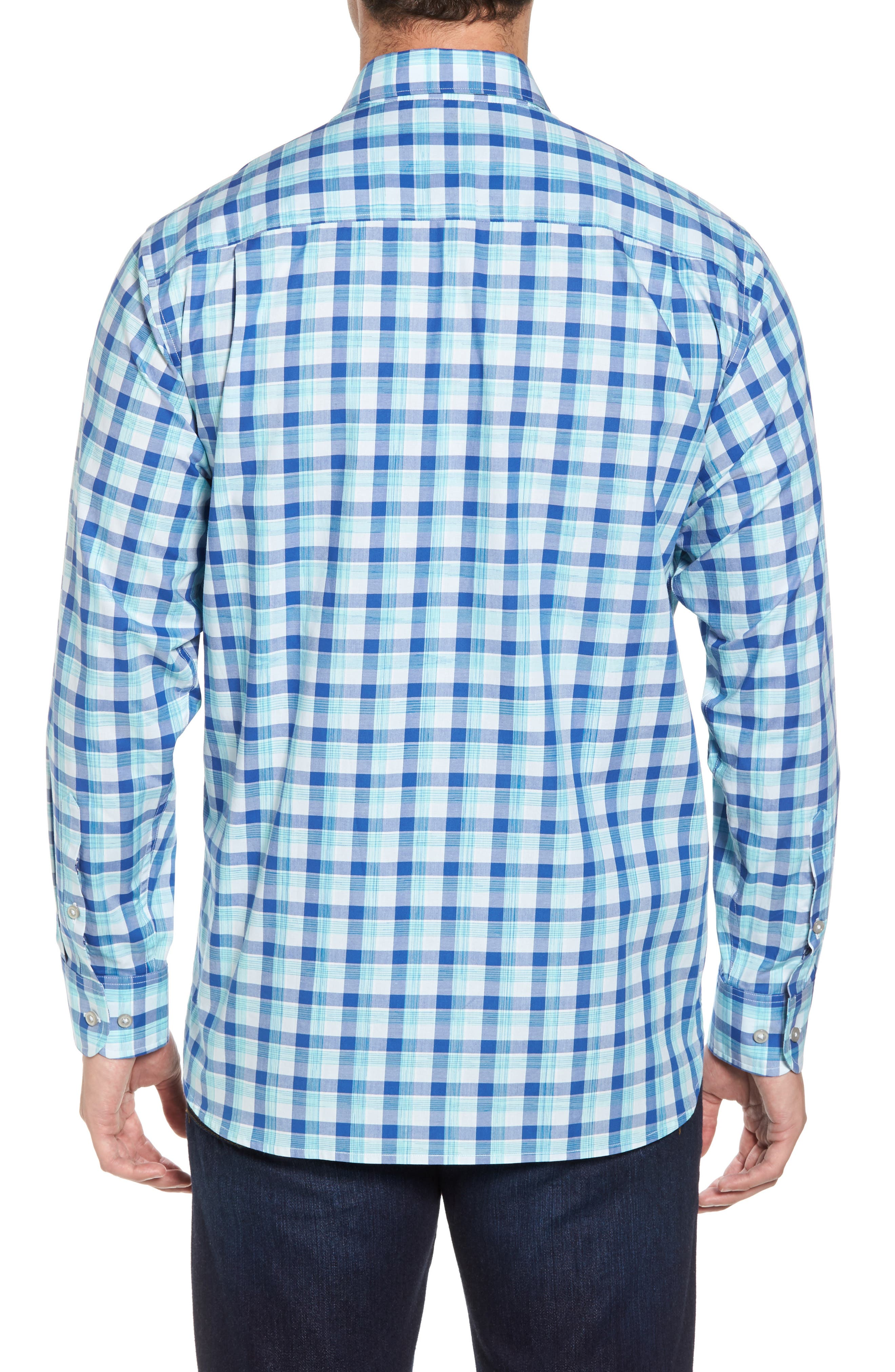Atlantic Tides Classic Fit Plaid Sport Shirt,                             Alternate thumbnail 2, color,                             Galaxy Blue