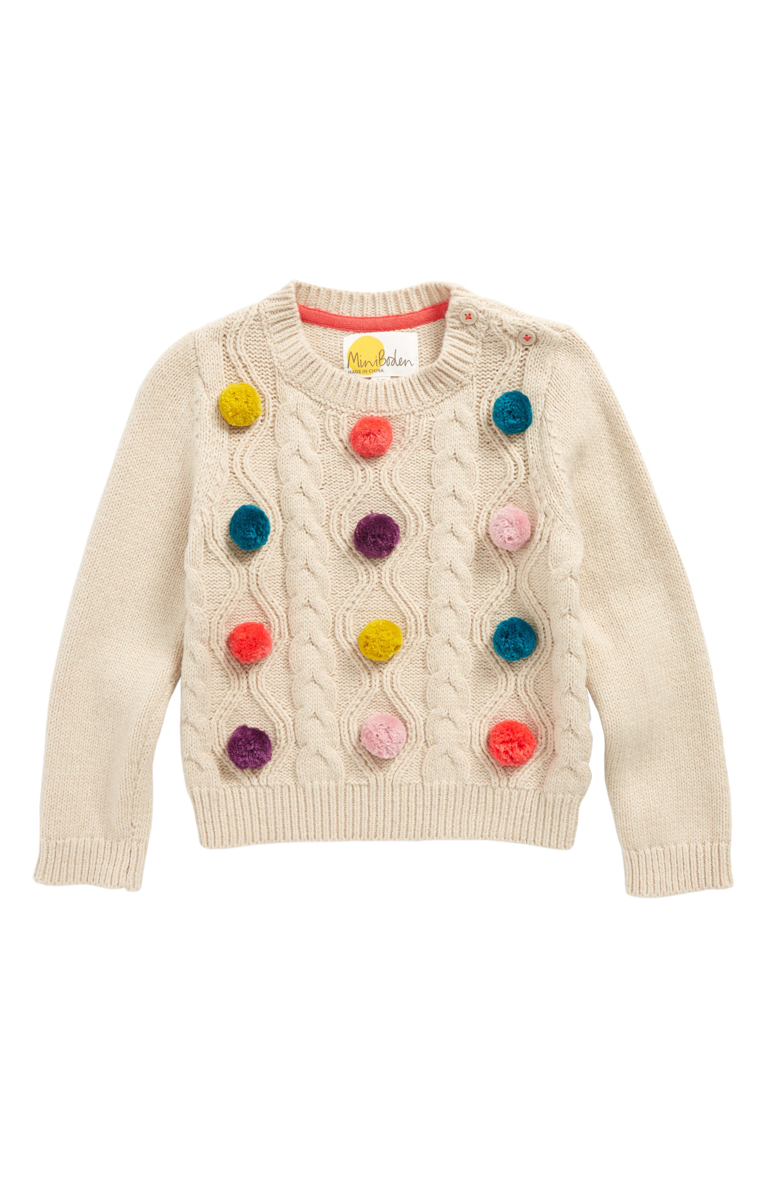 Mini Boden Fun Cable Pompom Sweater (Toddler Girls, Little Girls & Big Girls)