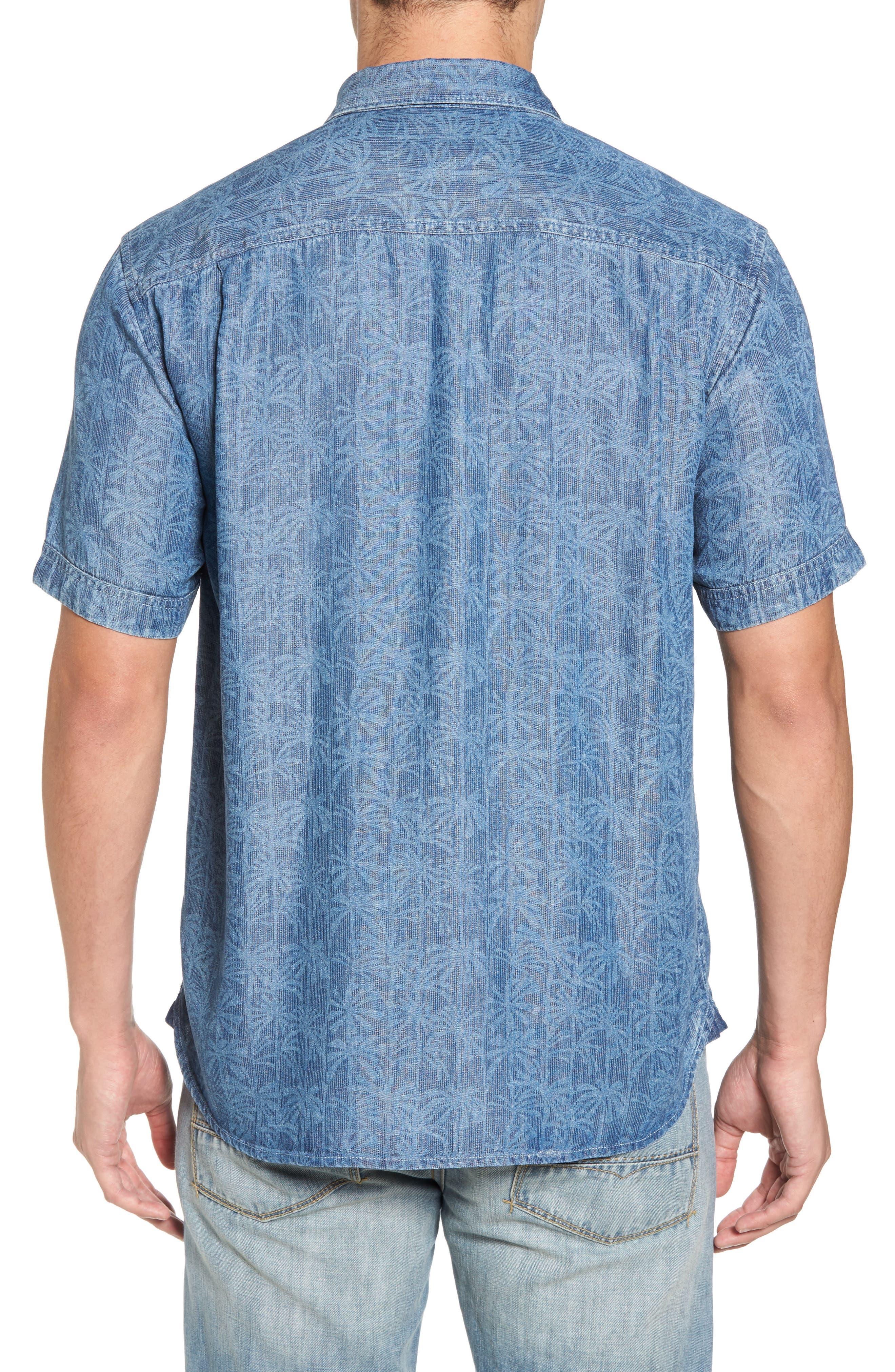 Block Party Palms Chambray Sport Shirt,                             Alternate thumbnail 2, color,                             Light Indigo