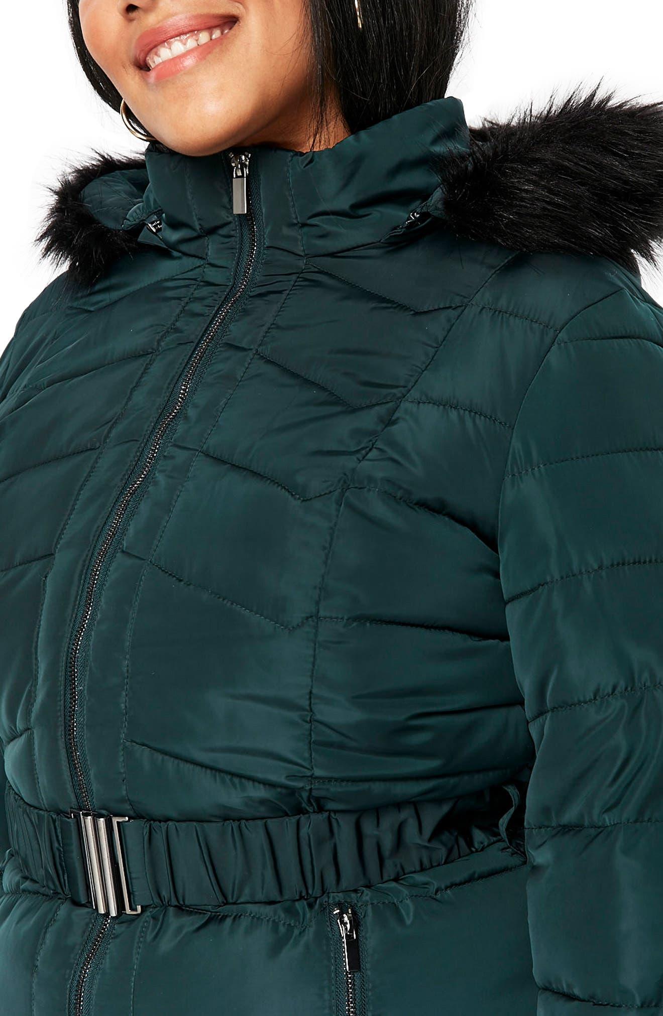 Padded Coat with Faux Fur Trim,                             Alternate thumbnail 4, color,                             Dark Green