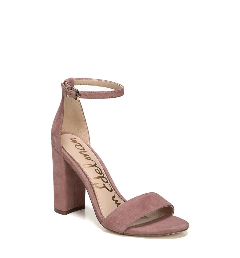 Yaro Ankle Strap Sandal, Main, color, Dusty Rose Suede