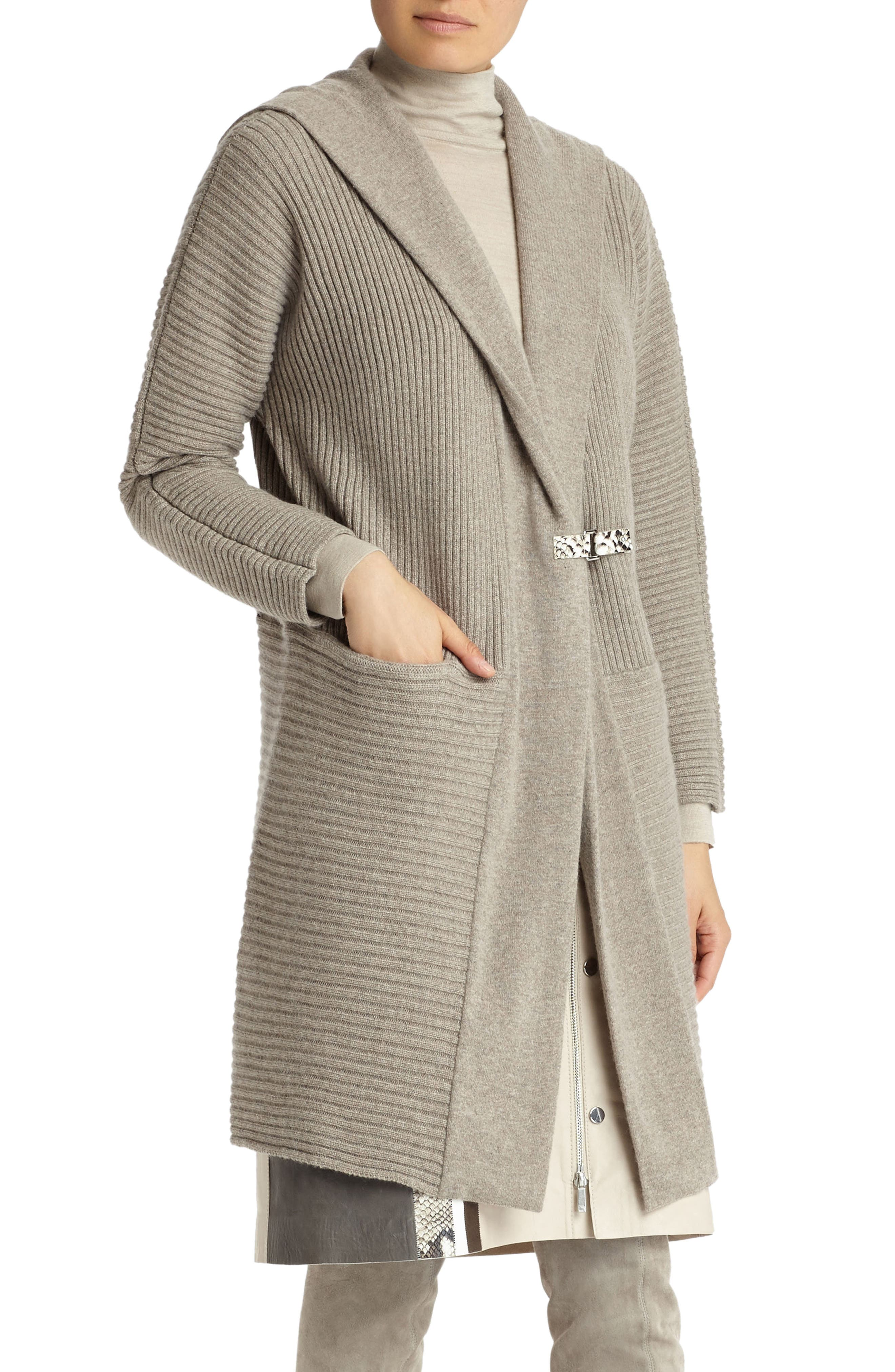 Mixed Rib Cashmere Hooded Cardigan,                         Main,                         color, Portobello Melange