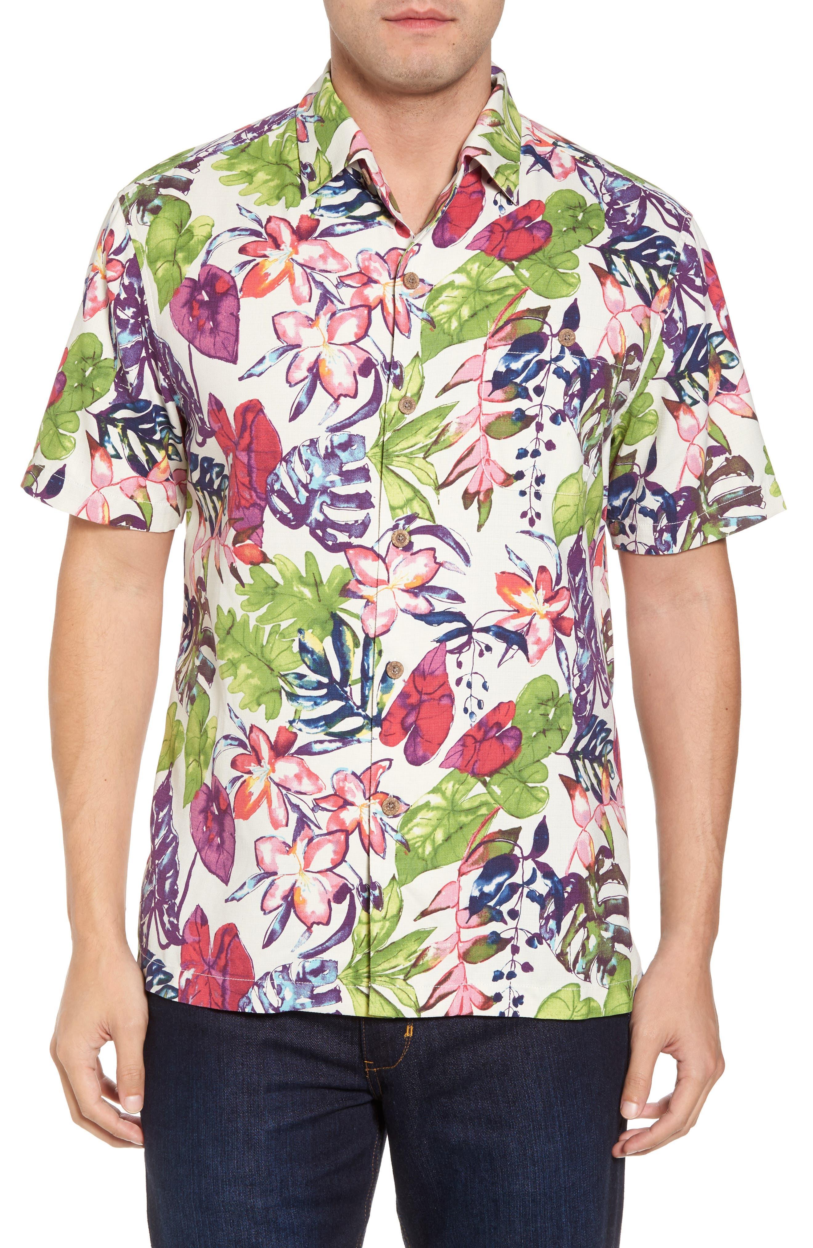Riviera Garden Floral Silk Blend Camp Shirt,                             Main thumbnail 1, color,                             Cloud