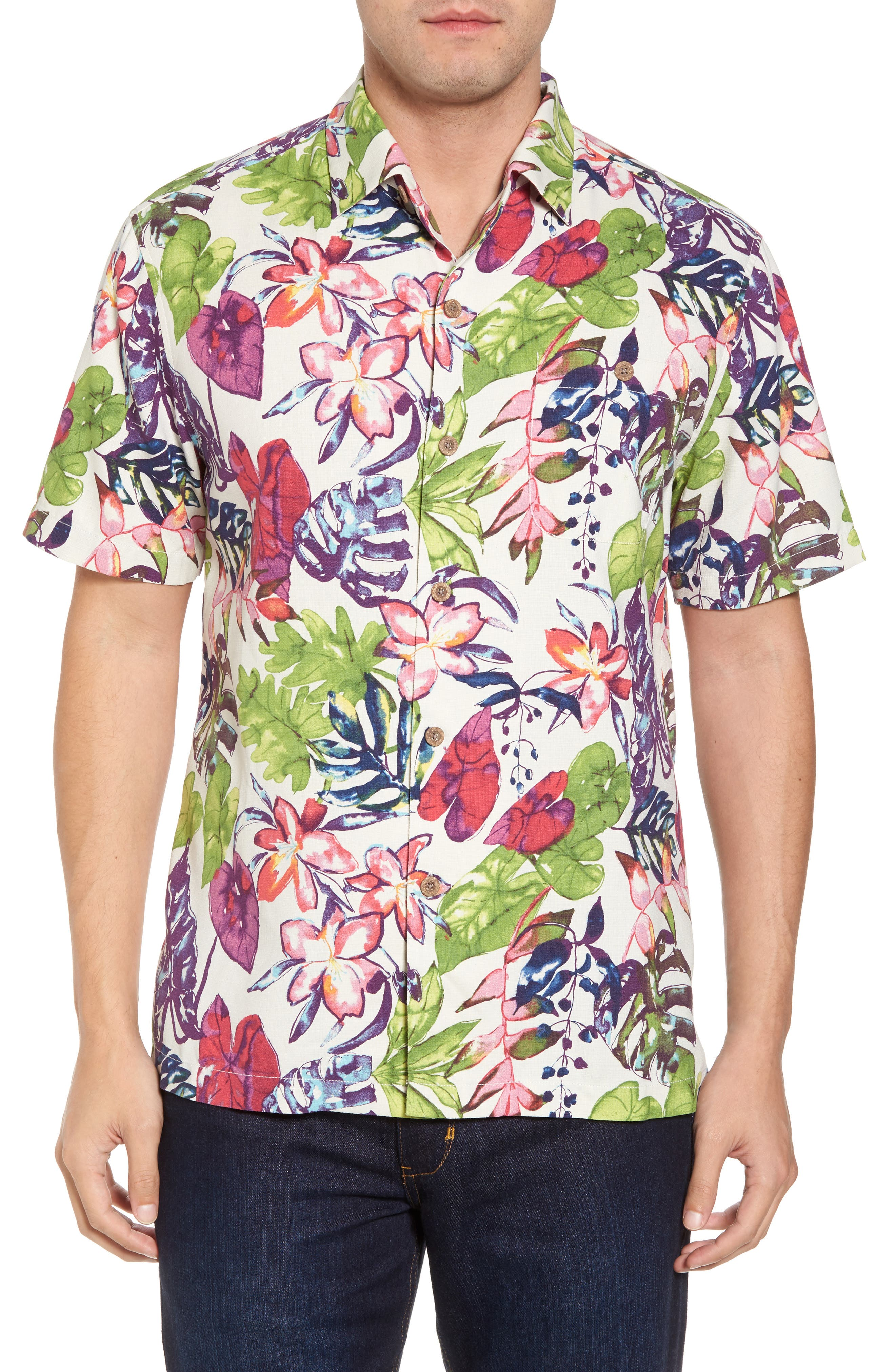 Riviera Garden Floral Silk Blend Camp Shirt,                         Main,                         color, Cloud