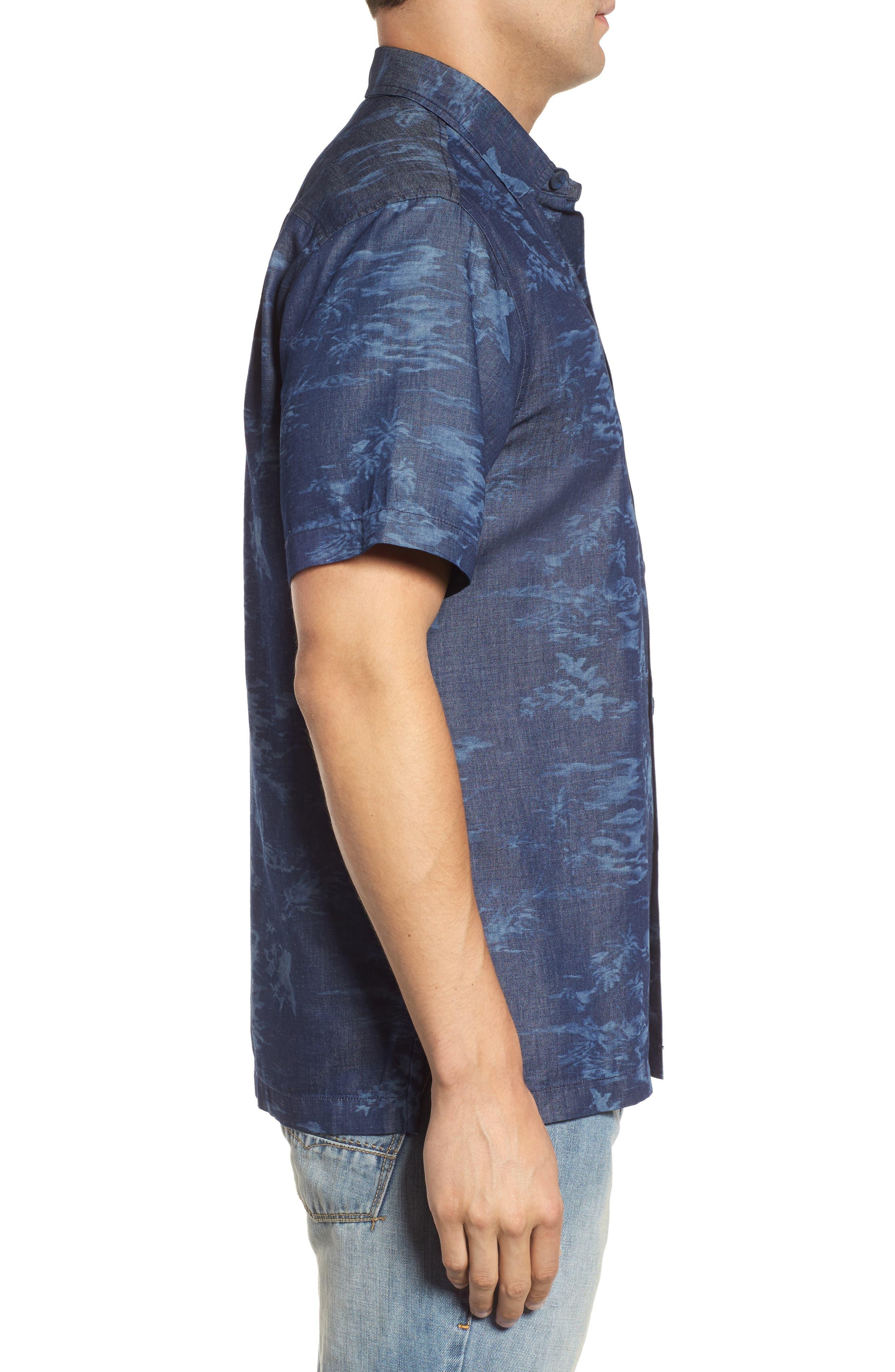 South Beach Scenic Cotton & Silk Camp Shirt,                             Alternate thumbnail 3, color,                             Indigo
