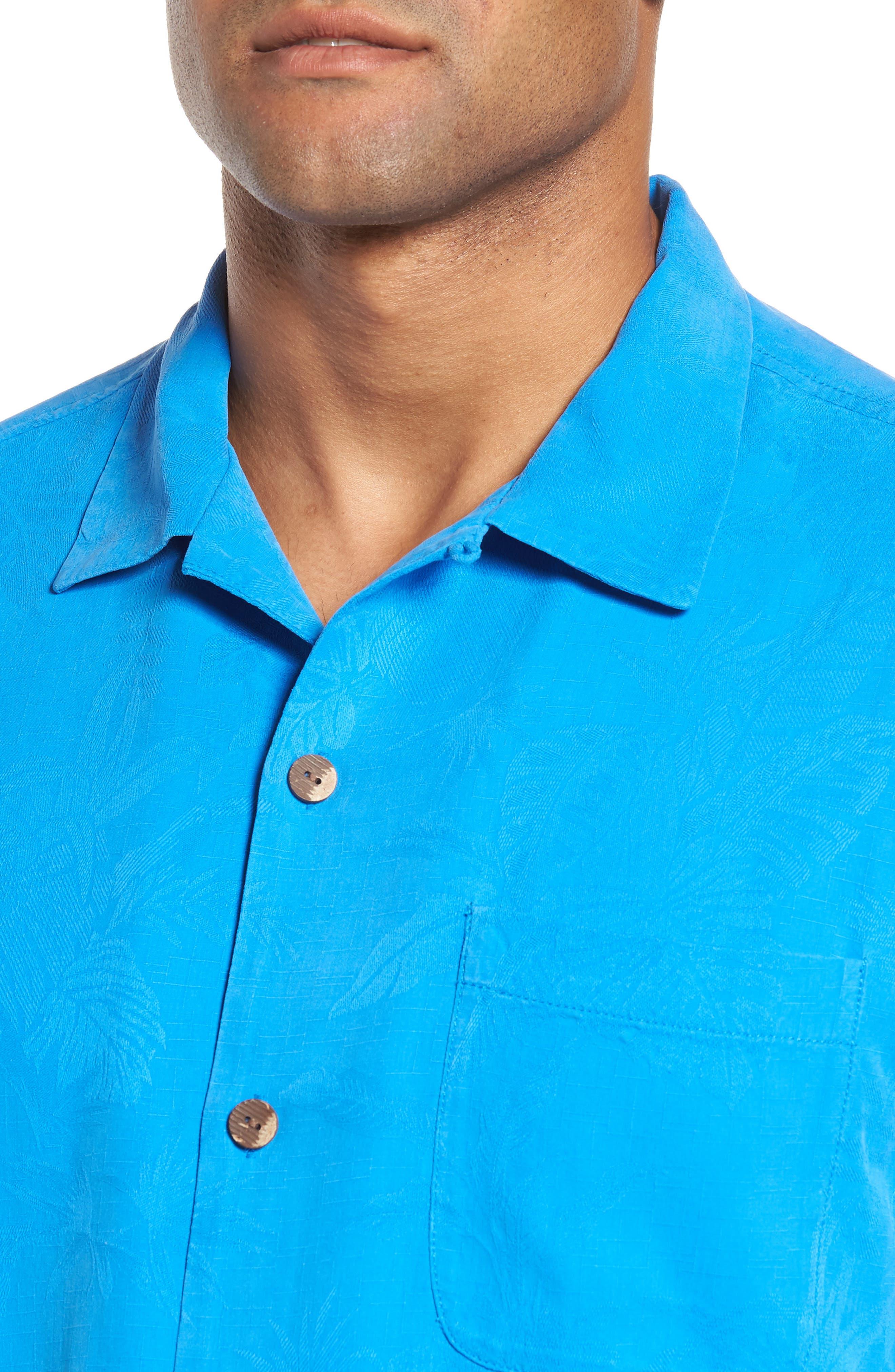 St Lucia Fronds Silk Camp Shirt,                             Alternate thumbnail 3, color,                             Santorini Blue