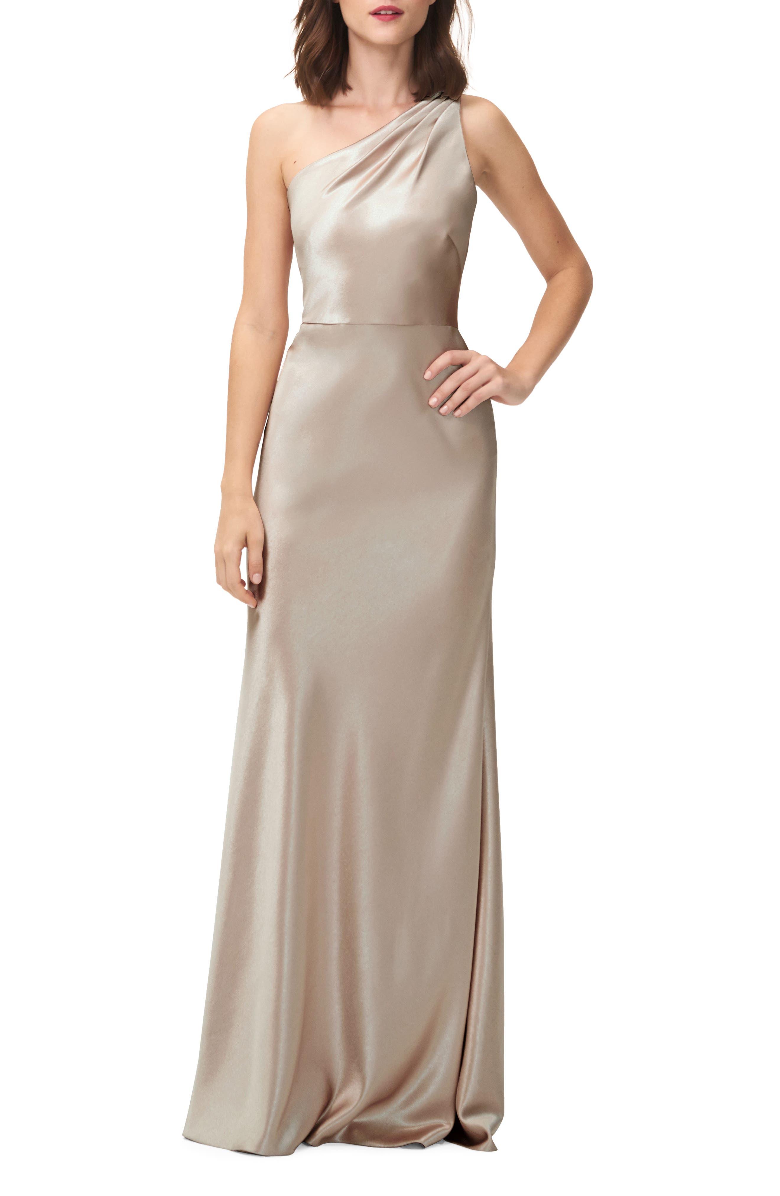 Lena One-Shoulder Crepe Back Satin Gown,                         Main,                         color, Latte