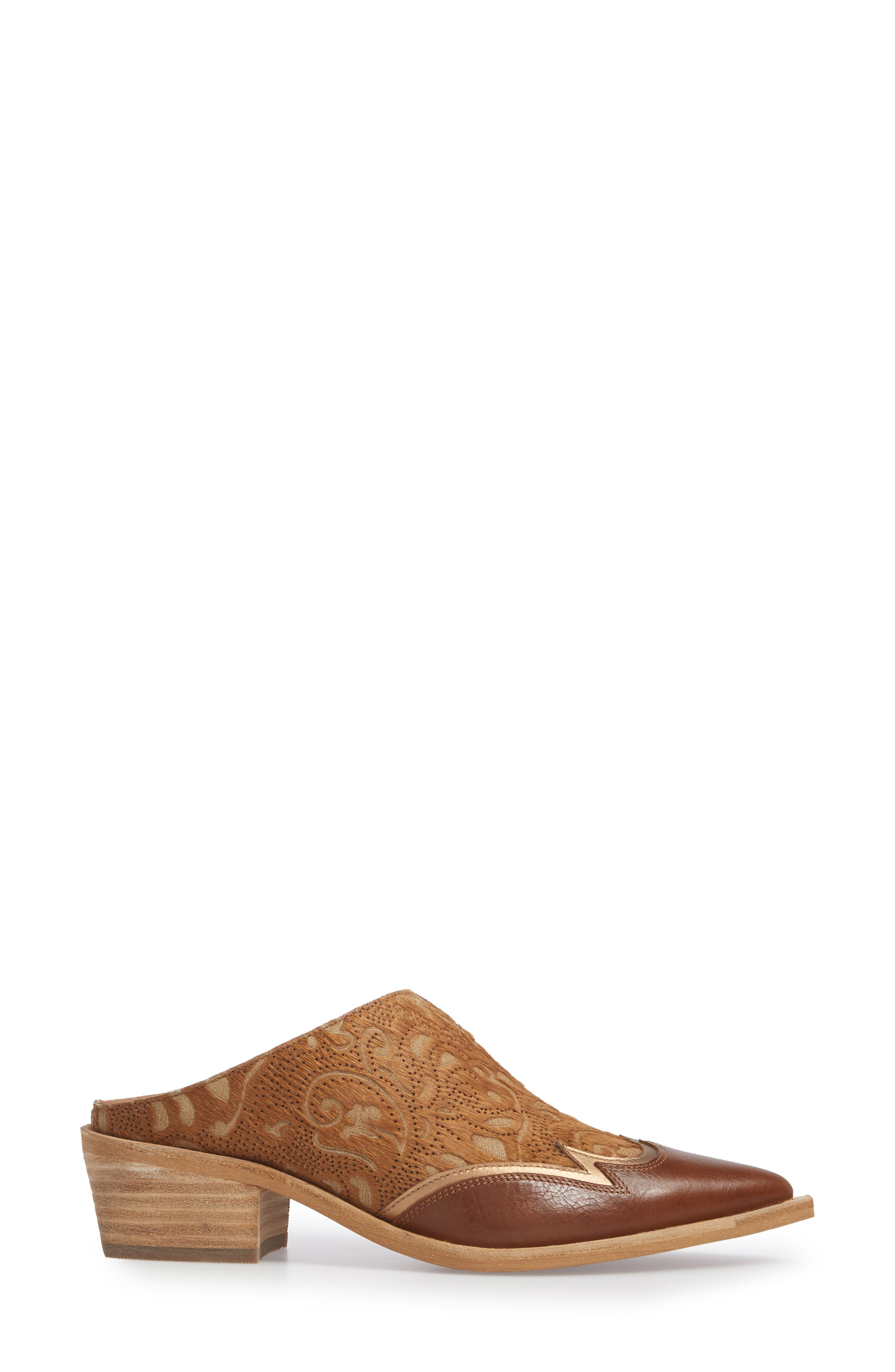 Waylon Genuine Calf Hair Western Mule,                             Alternate thumbnail 3, color,                             Camel Leather