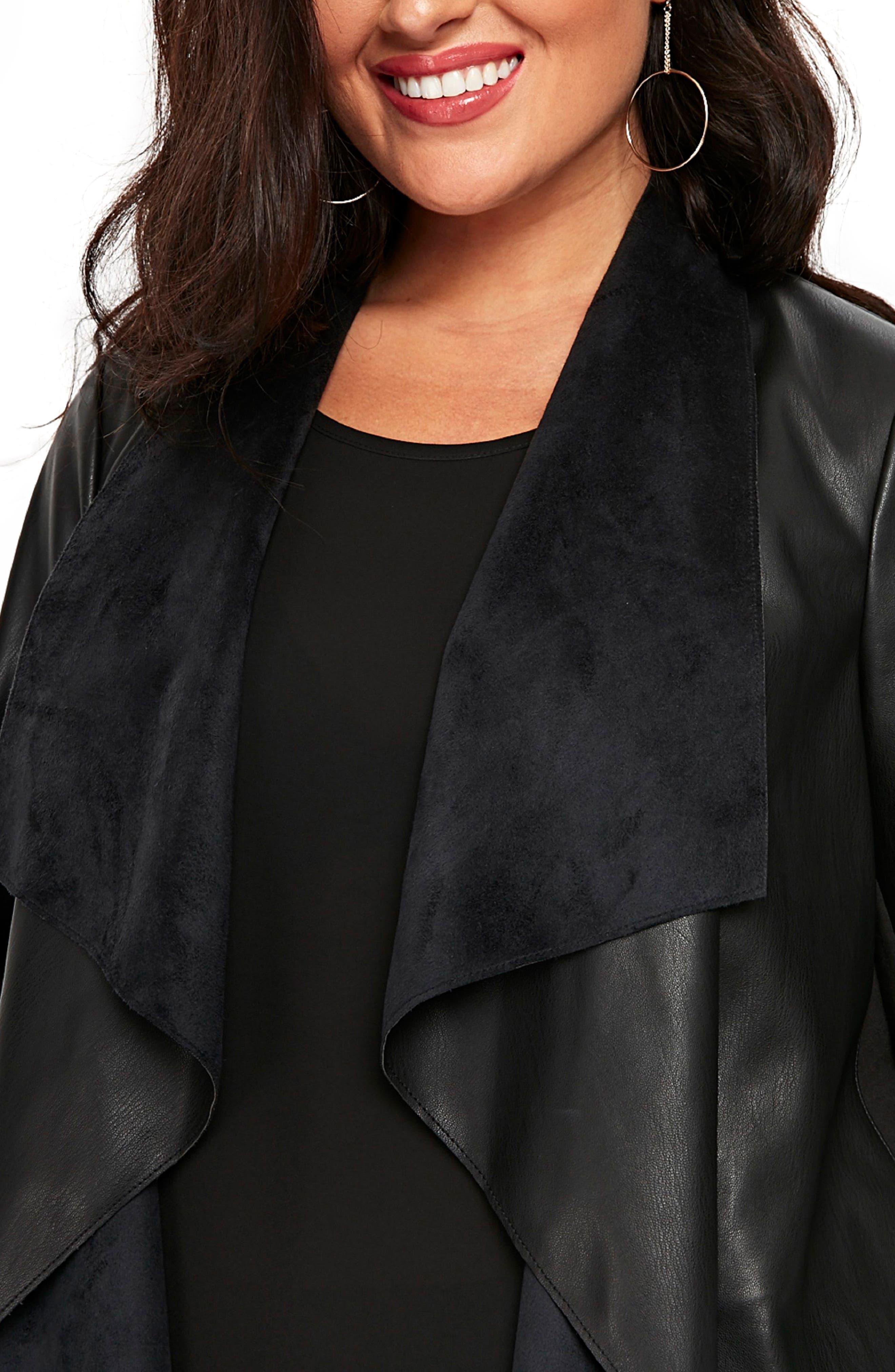 Drape Lapel Faux Leather Jacket,                             Alternate thumbnail 3, color,                             Black