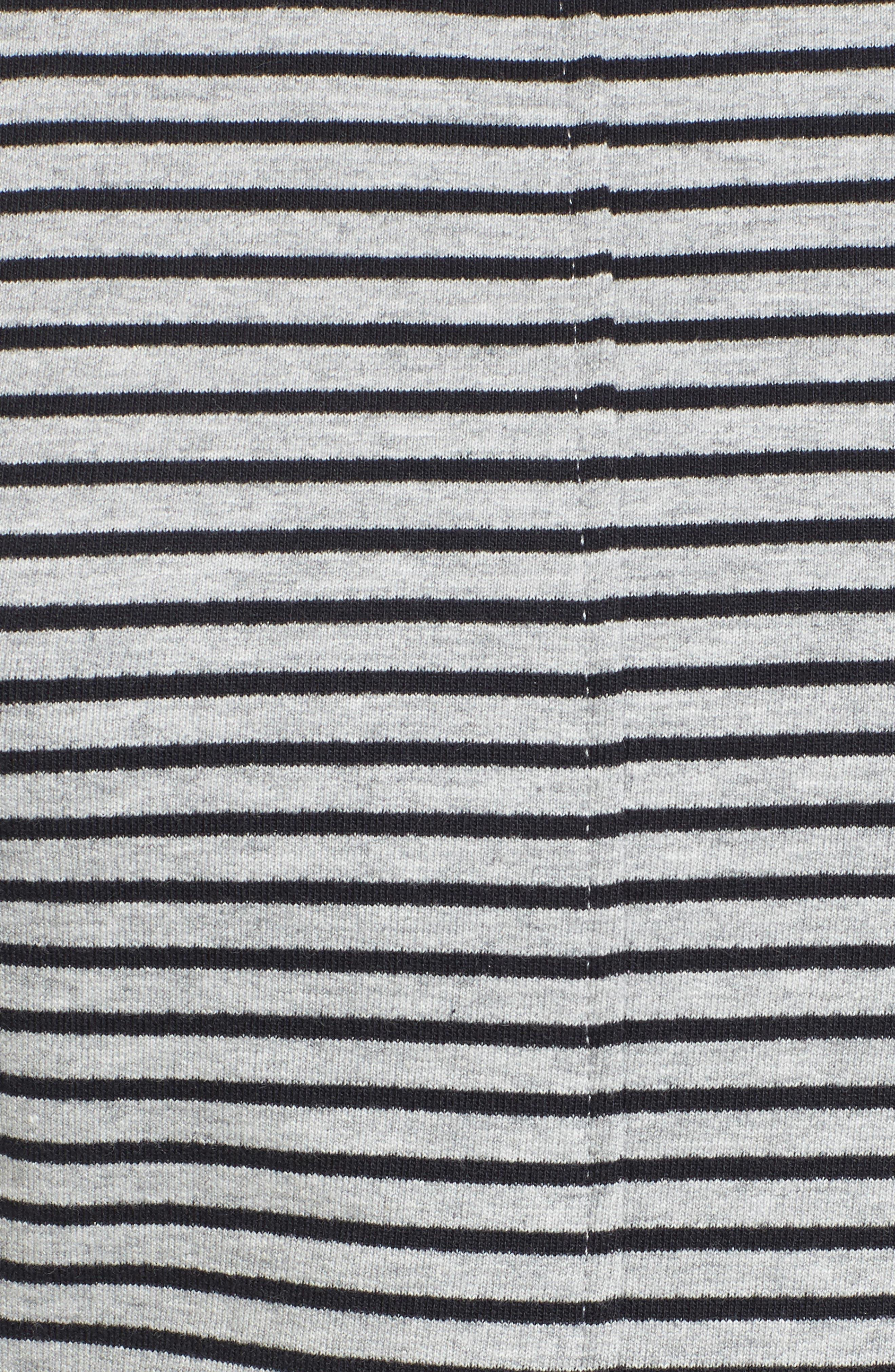 Pleated Sweatshirt,                             Alternate thumbnail 5, color,                             Grey Heather- Navy Seam Stripe