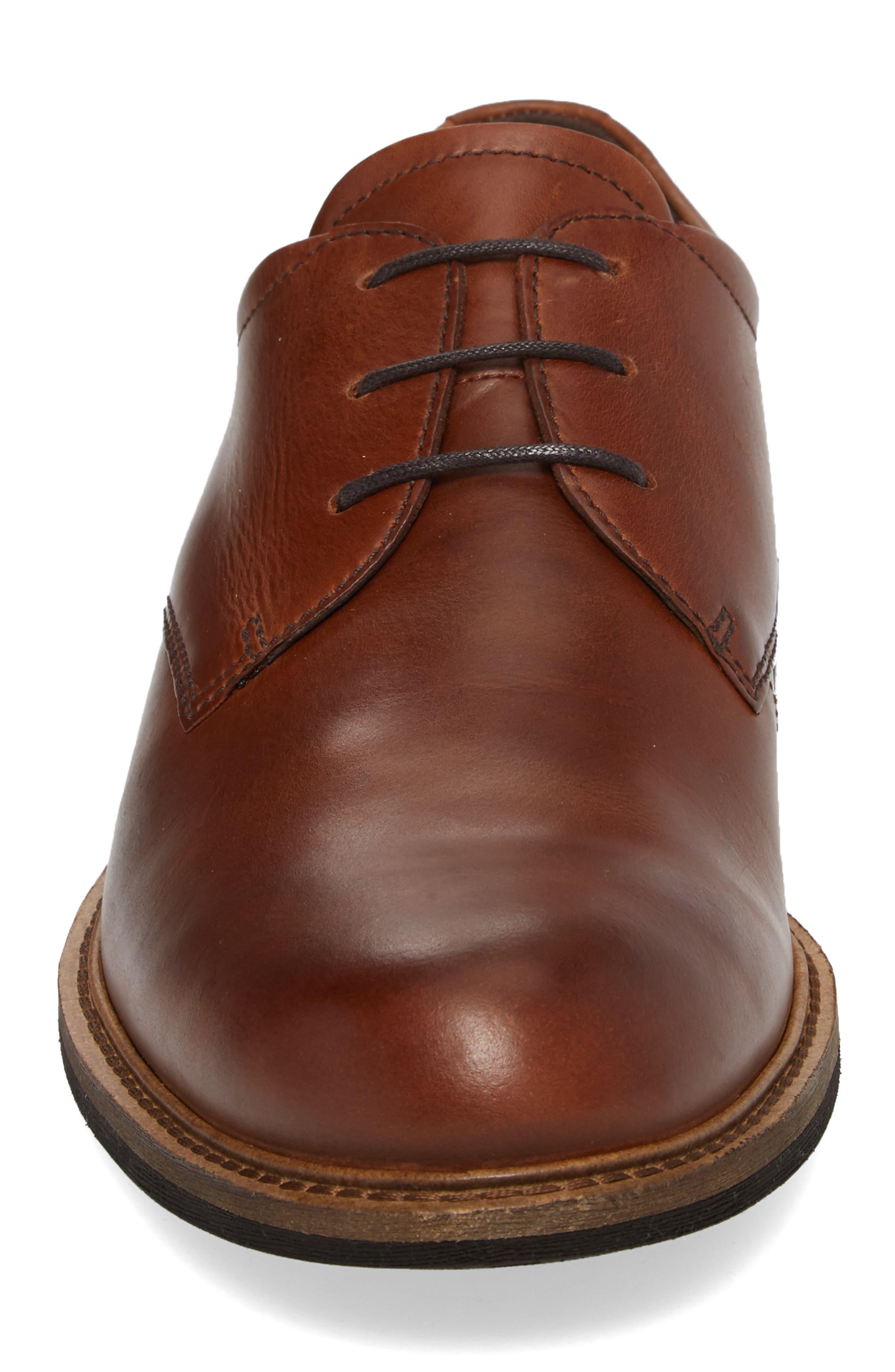 Findlay Plain Toe Derby,                             Alternate thumbnail 4, color,                             Cognac Leather