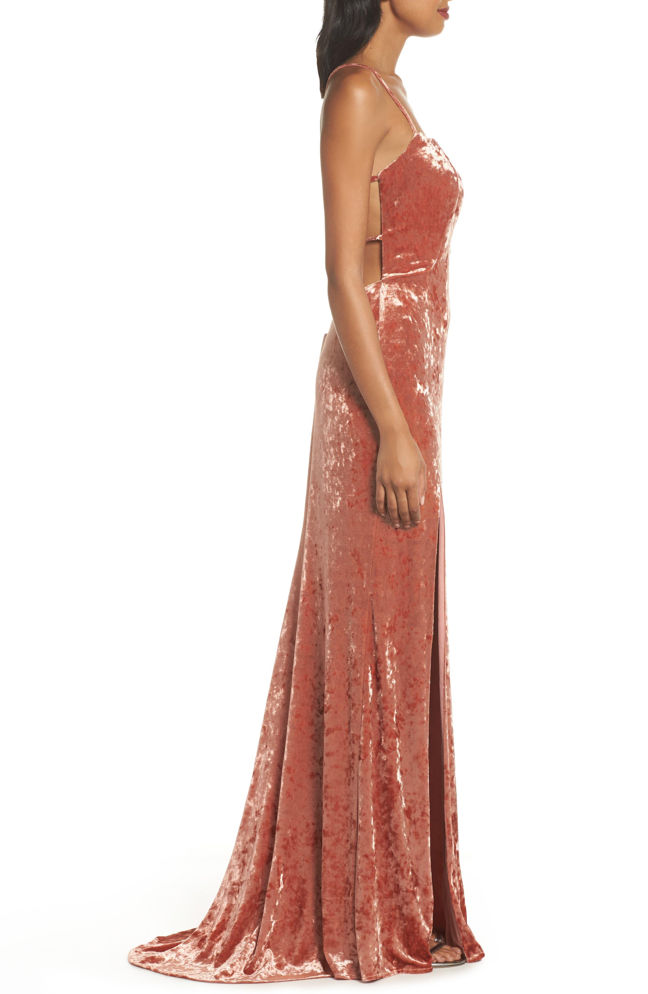 Crushed Velvet Sheath Gown,                             Alternate thumbnail 3, color,                             Blush
