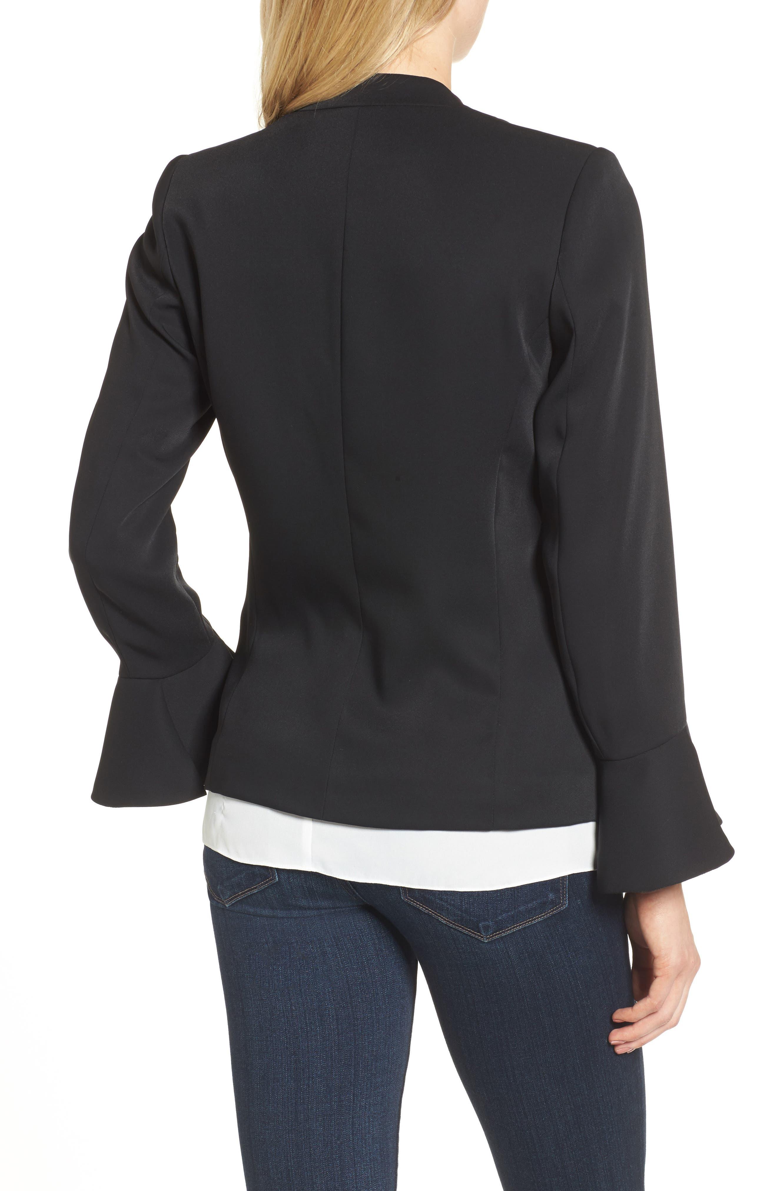 Bell Sleeve Blazer,                             Alternate thumbnail 2, color,                             Black