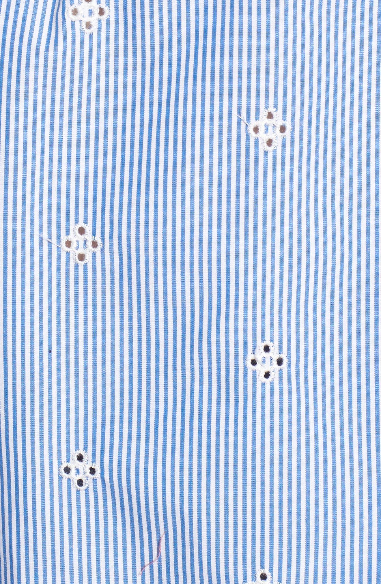 Off the Shoulder Schiffli Smocked Stripe Top,                             Alternate thumbnail 5, color,                             Blue Mazzarine Tawny Stripe