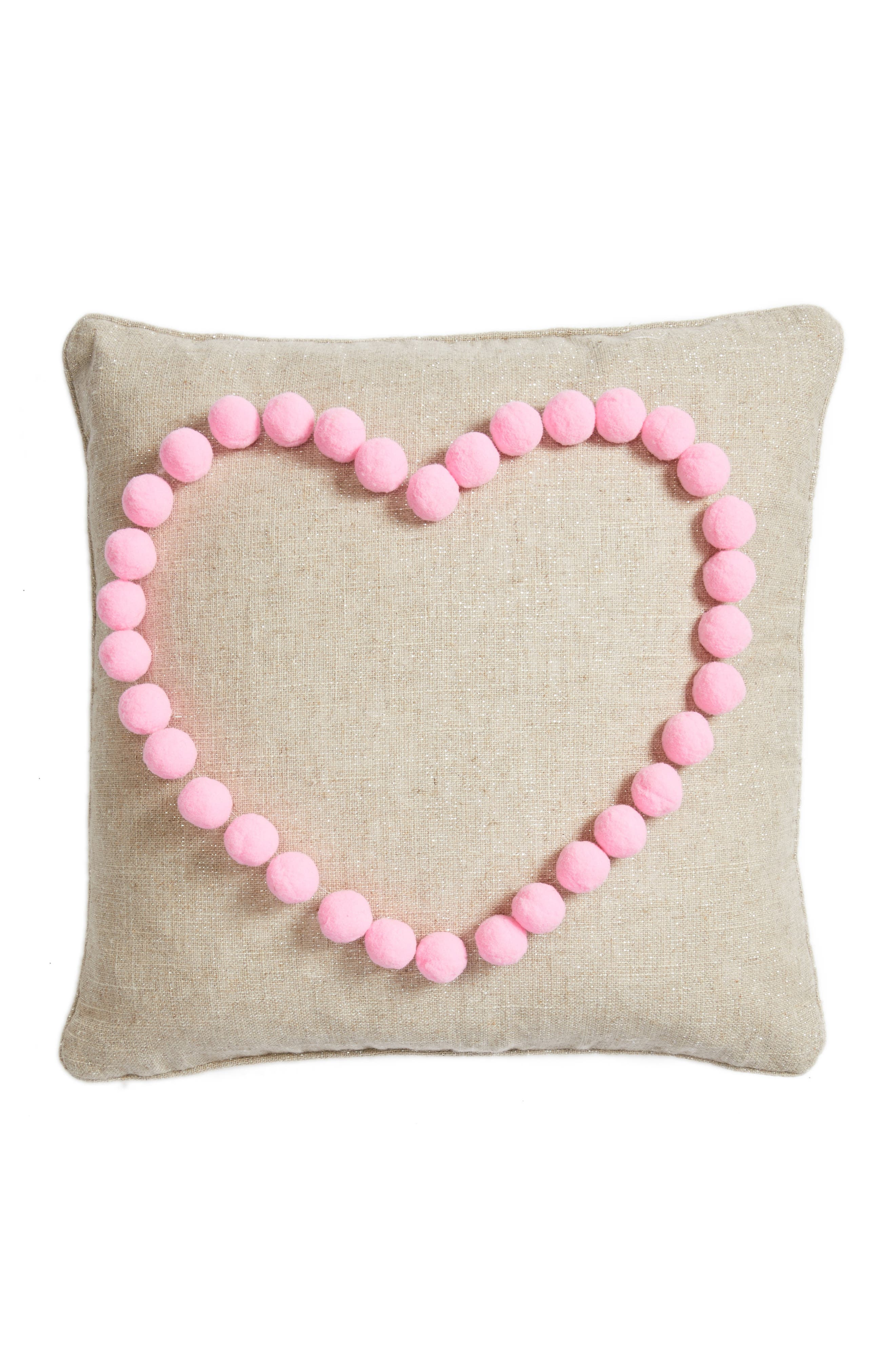 Pompom Heart Accent Pillow,                             Main thumbnail 1, color,                             Natural