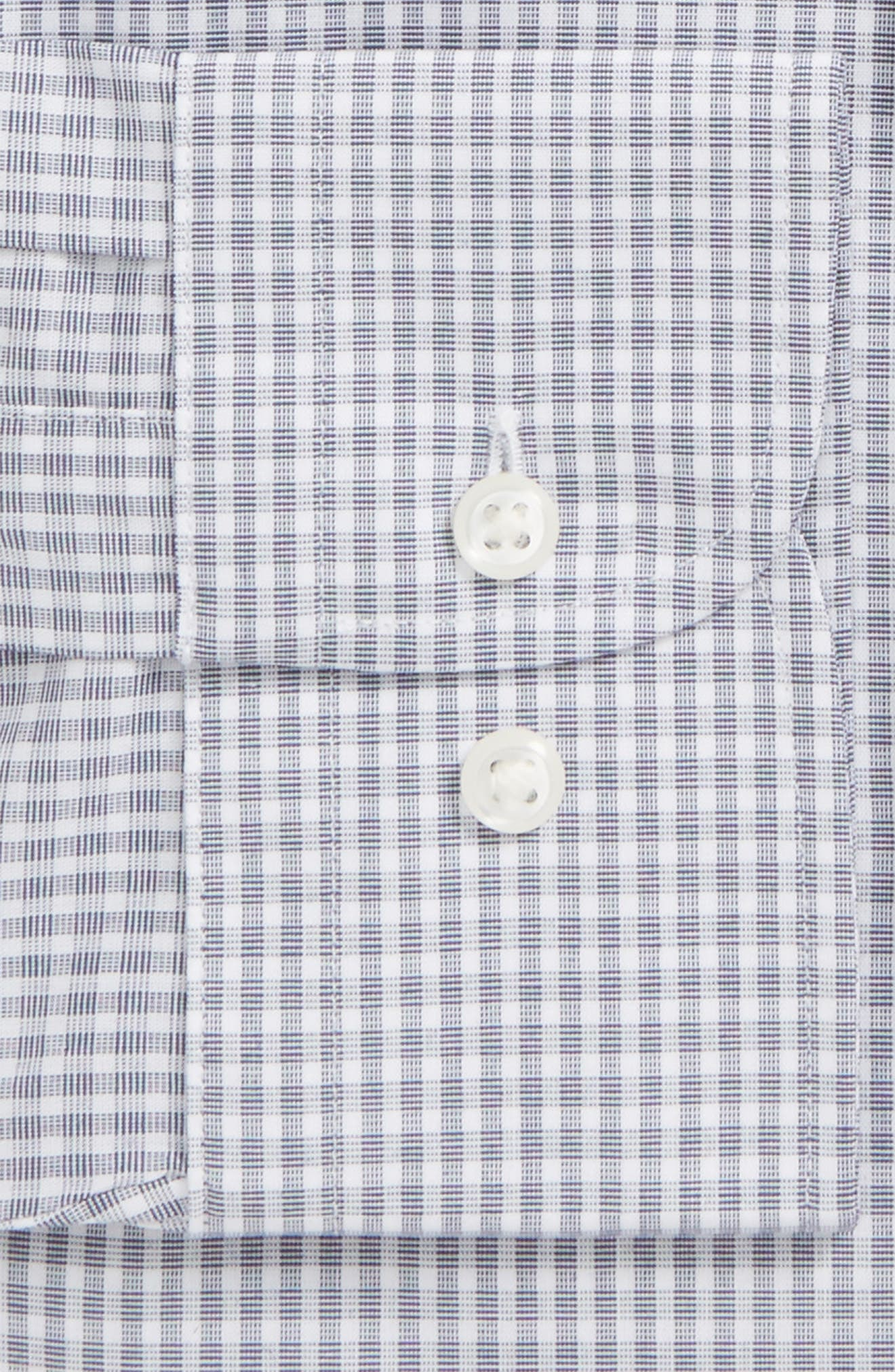 Trim Fit Non-Iron Check Dress Shirt,                             Alternate thumbnail 5, color,                             Navy Iris