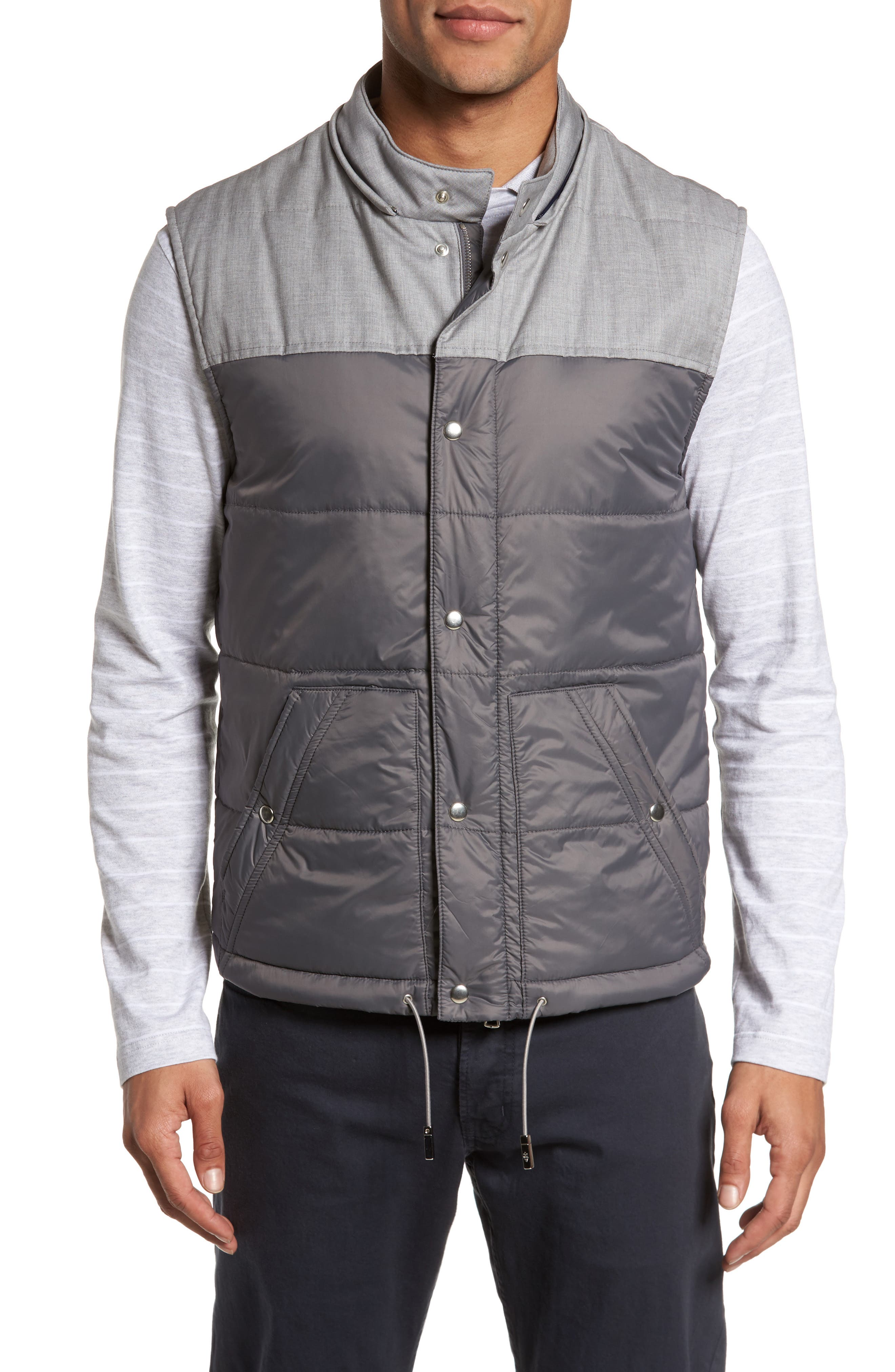 Mixed Media Quilted Vest,                             Alternate thumbnail 4, color,                             Grey