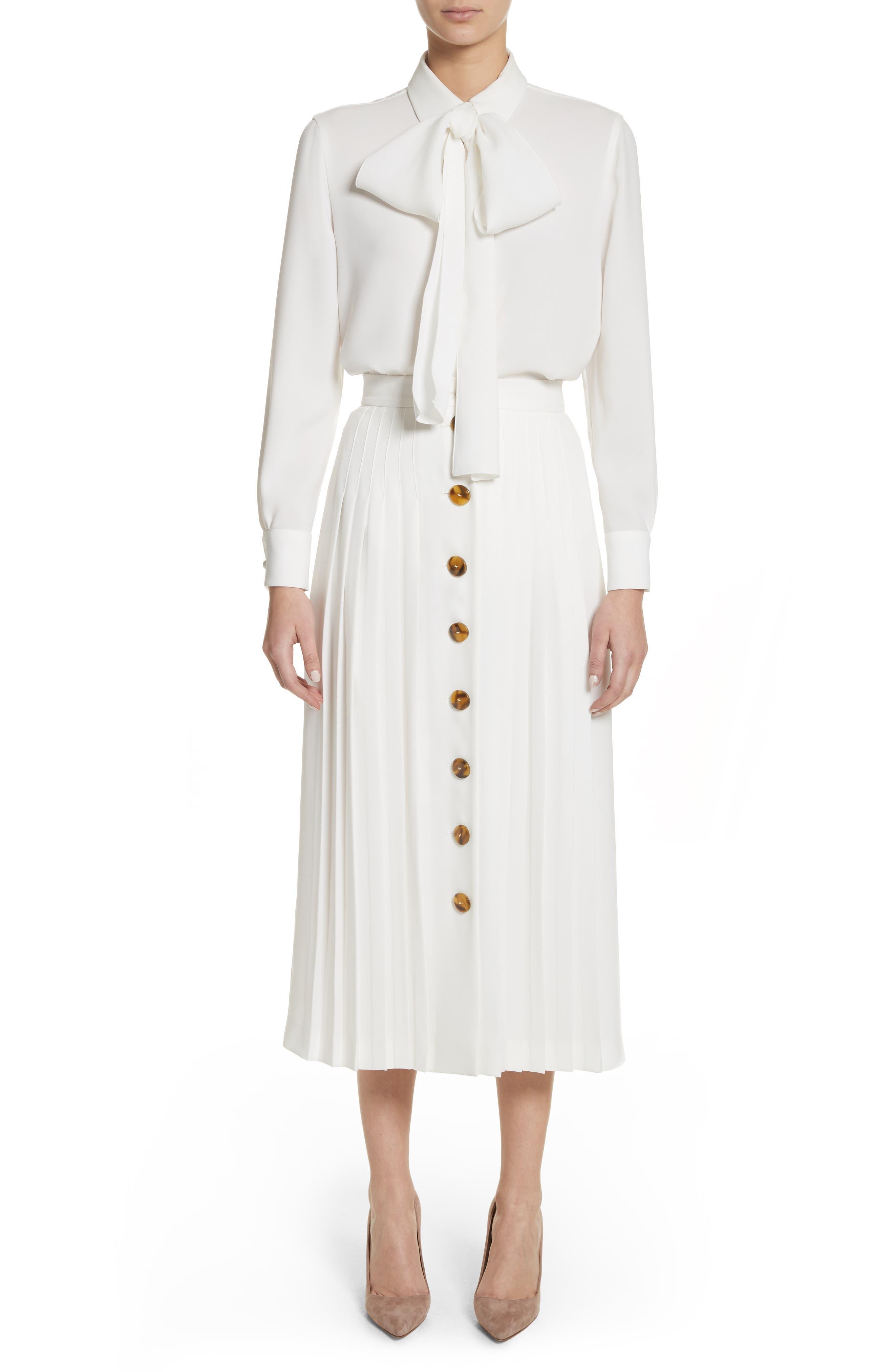 Pleated Button Skirt,                             Alternate thumbnail 8, color,                             White