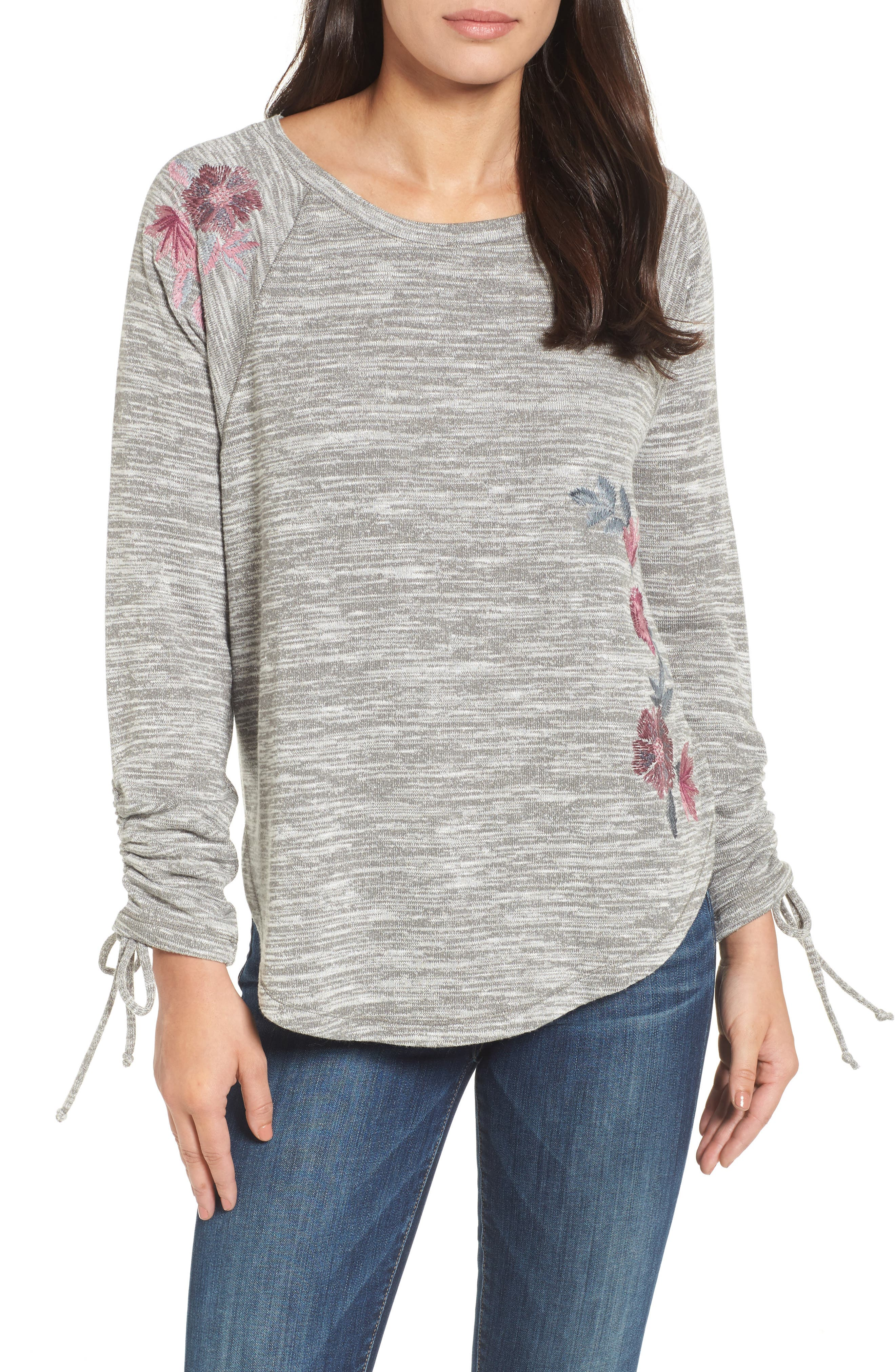 Hacci Embroidered Sweatshirt,                             Main thumbnail 1, color,                             Grey Heather
