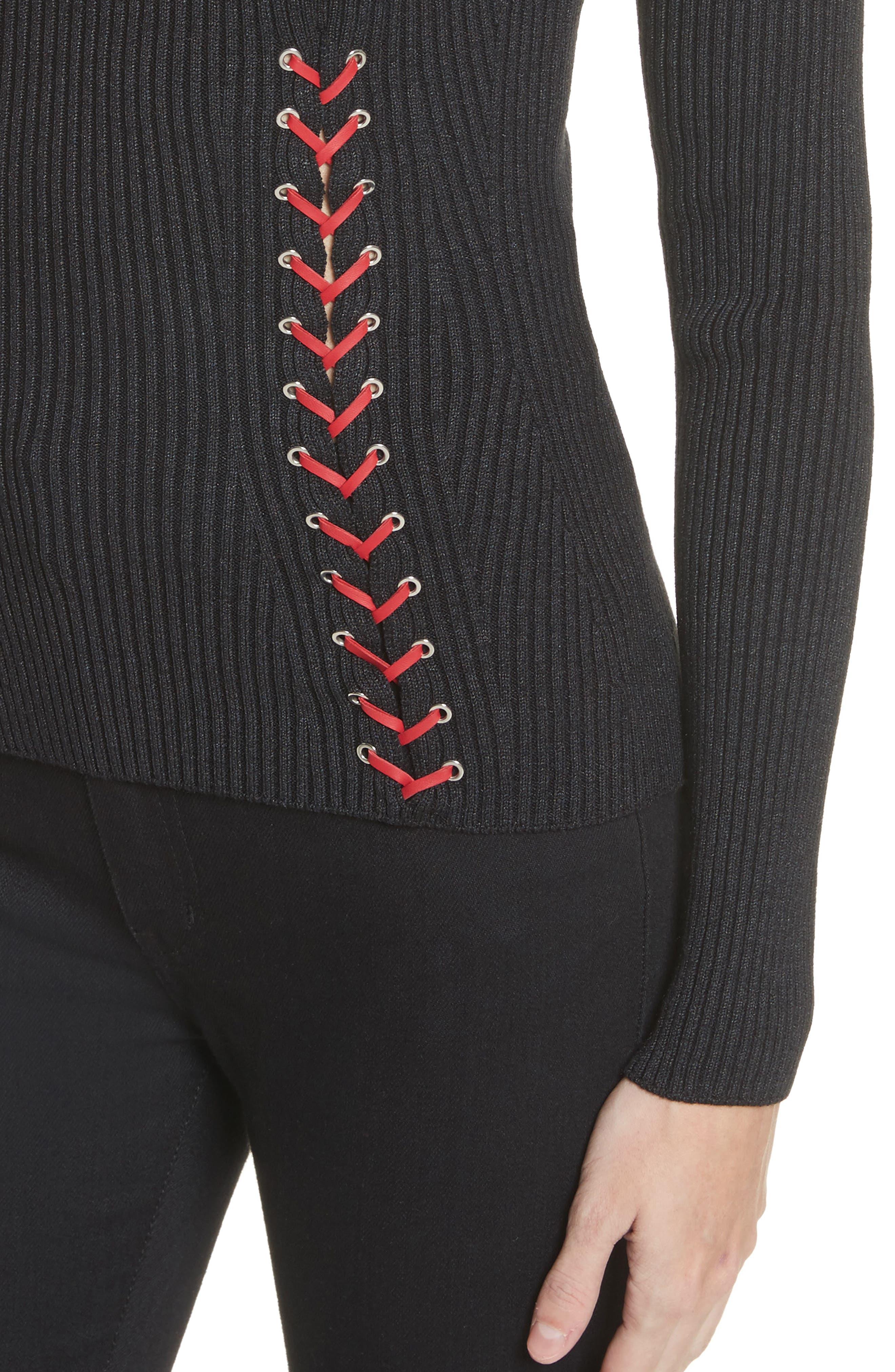 Alternate Image 4  - Alexander McQueen Leather Braid Silk Blend Sweater