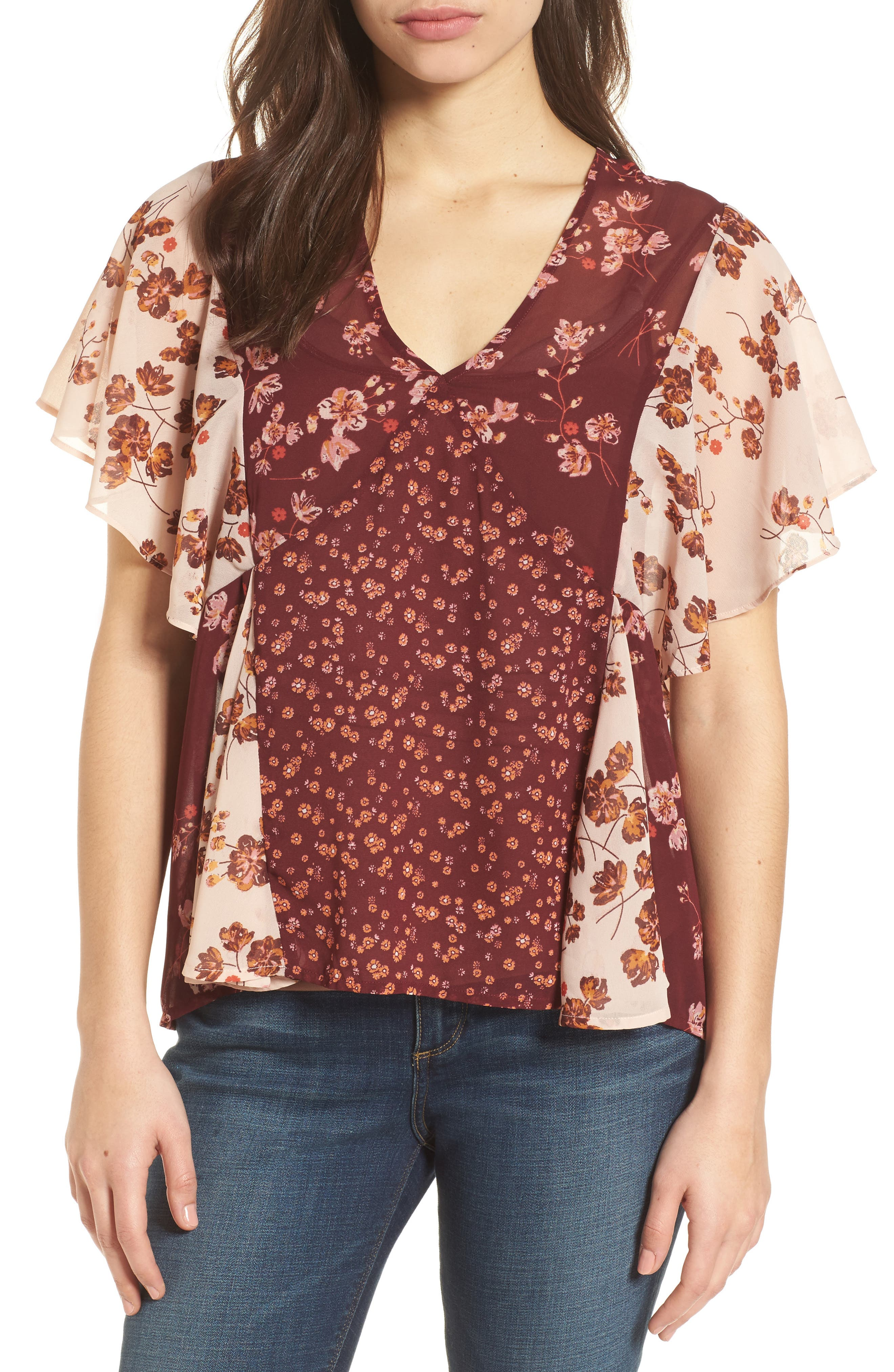 Mixed Floral PrintTop,                         Main,                         color, Burgundy Multi