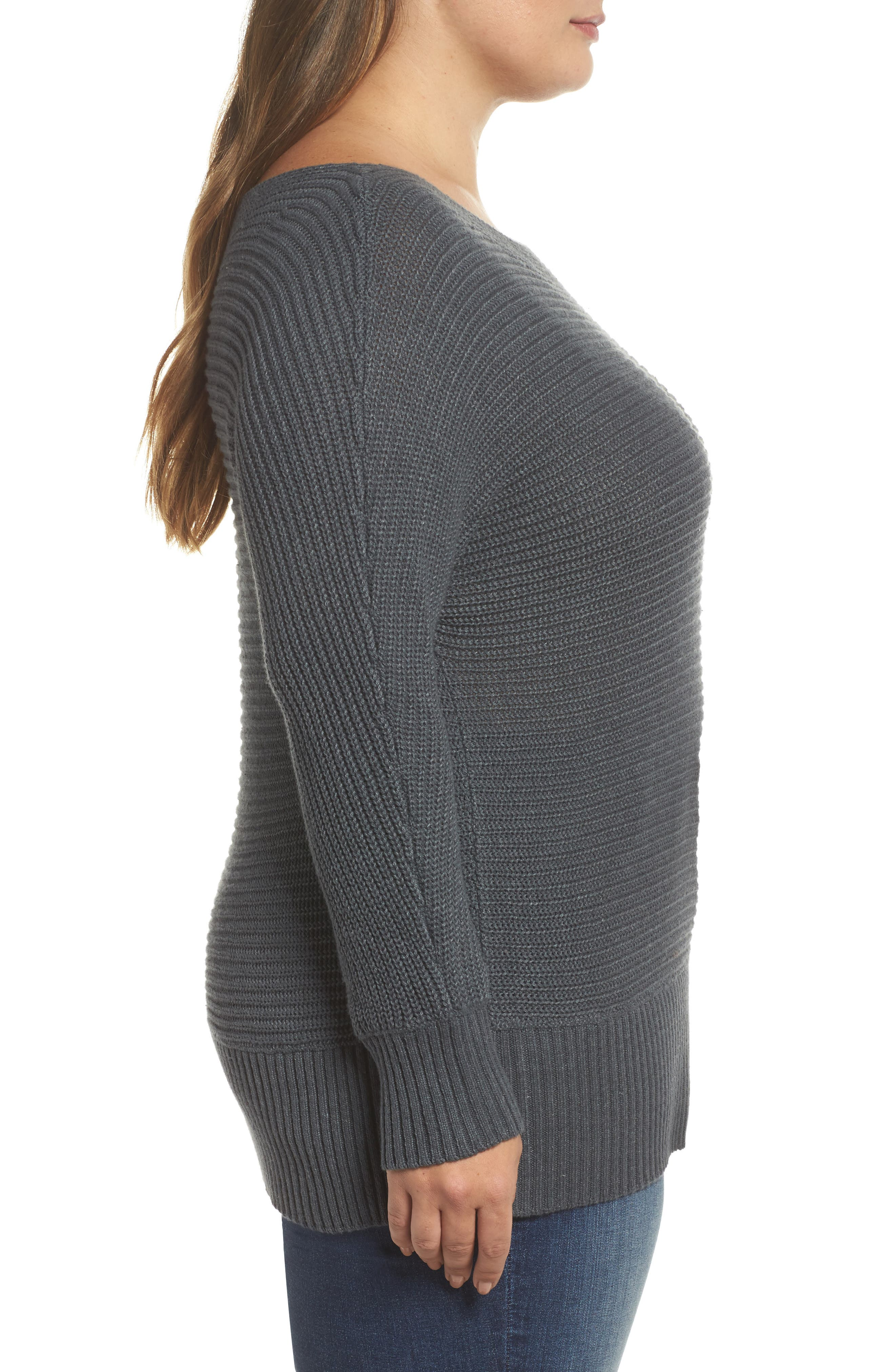 Off the Shoulder Sweater,                             Alternate thumbnail 3, color,                             Storm Grey