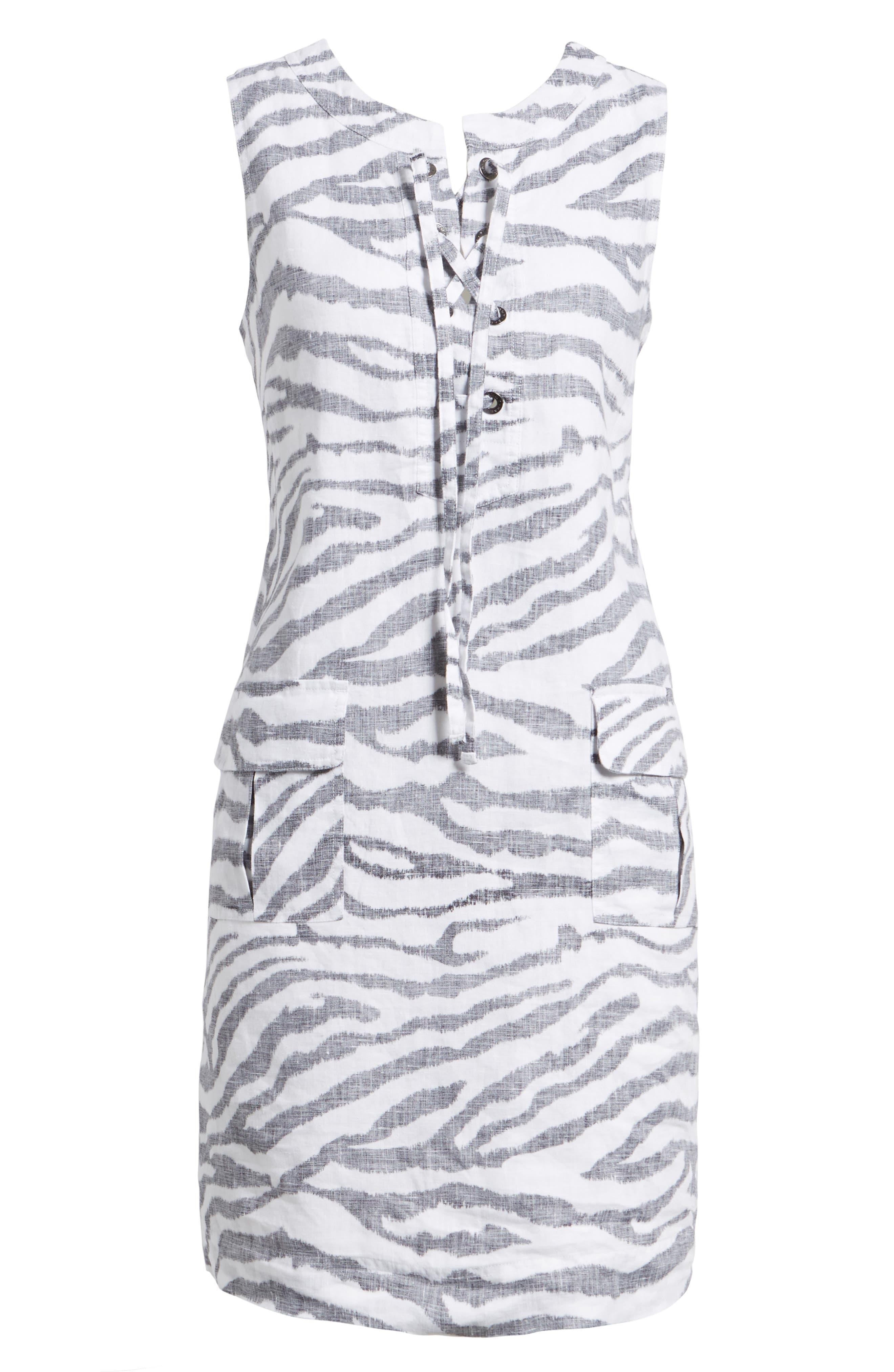 Zebra Taunt Shift Dress,                             Alternate thumbnail 6, color,                             Black