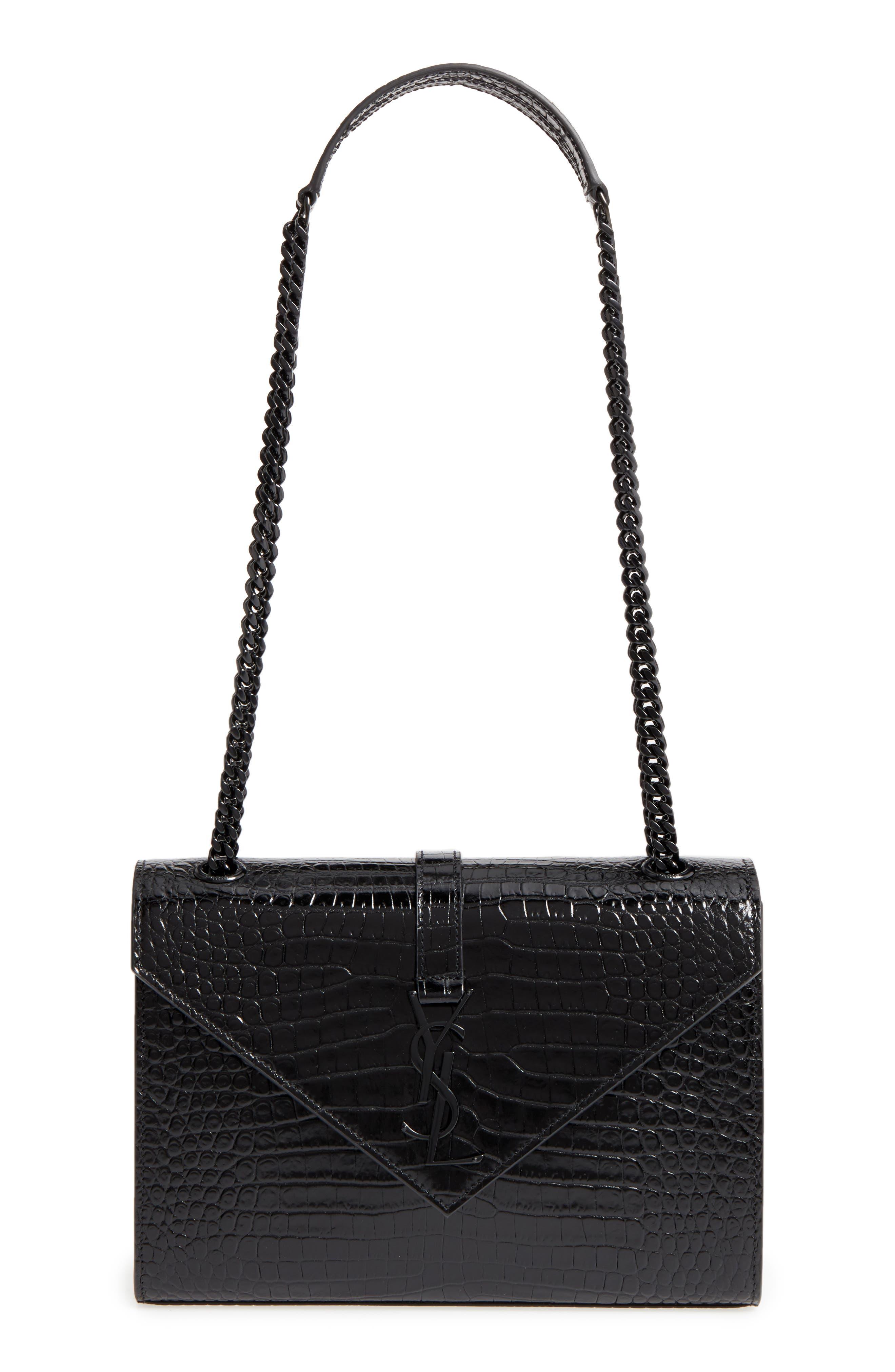 Medium Croc-Embossed Calfskin Shoulder Bag,                         Main,                         color, Noir