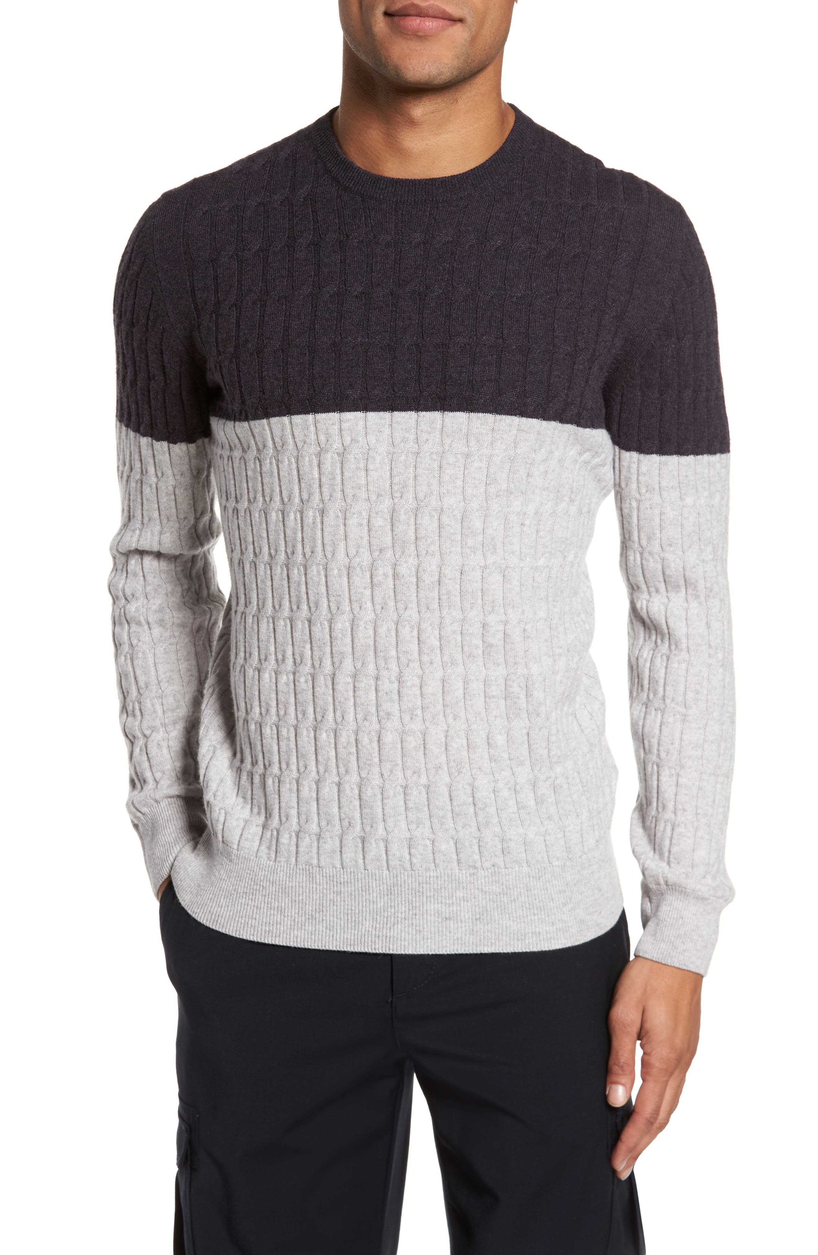 Colorblock Cable Knit Cashmere Sweater,                         Main,                         color, Grey Ink